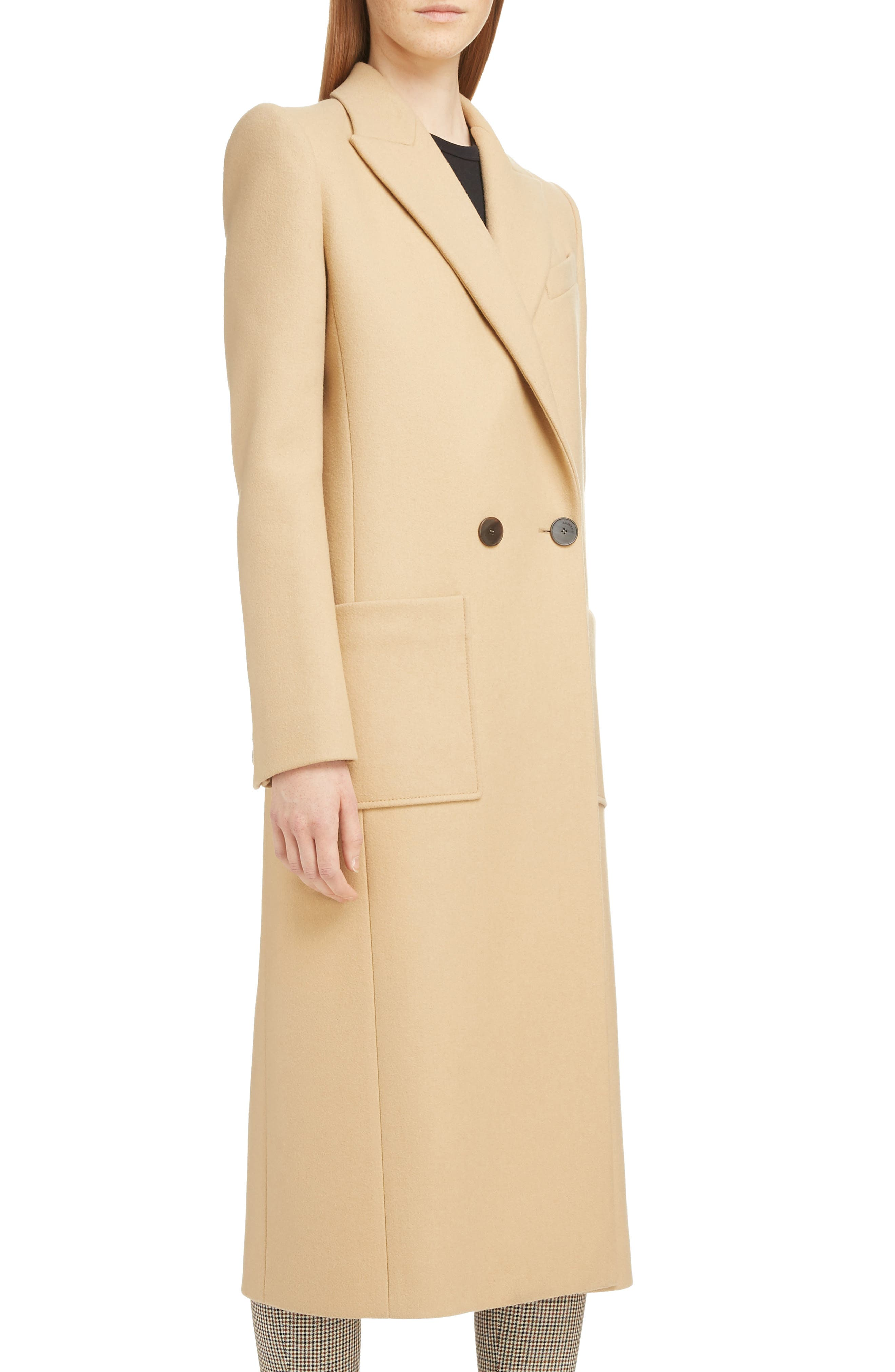 GIVENCHY,                             Double Breasted Wool Coat,                             Alternate thumbnail 4, color,                             250-BEIGE