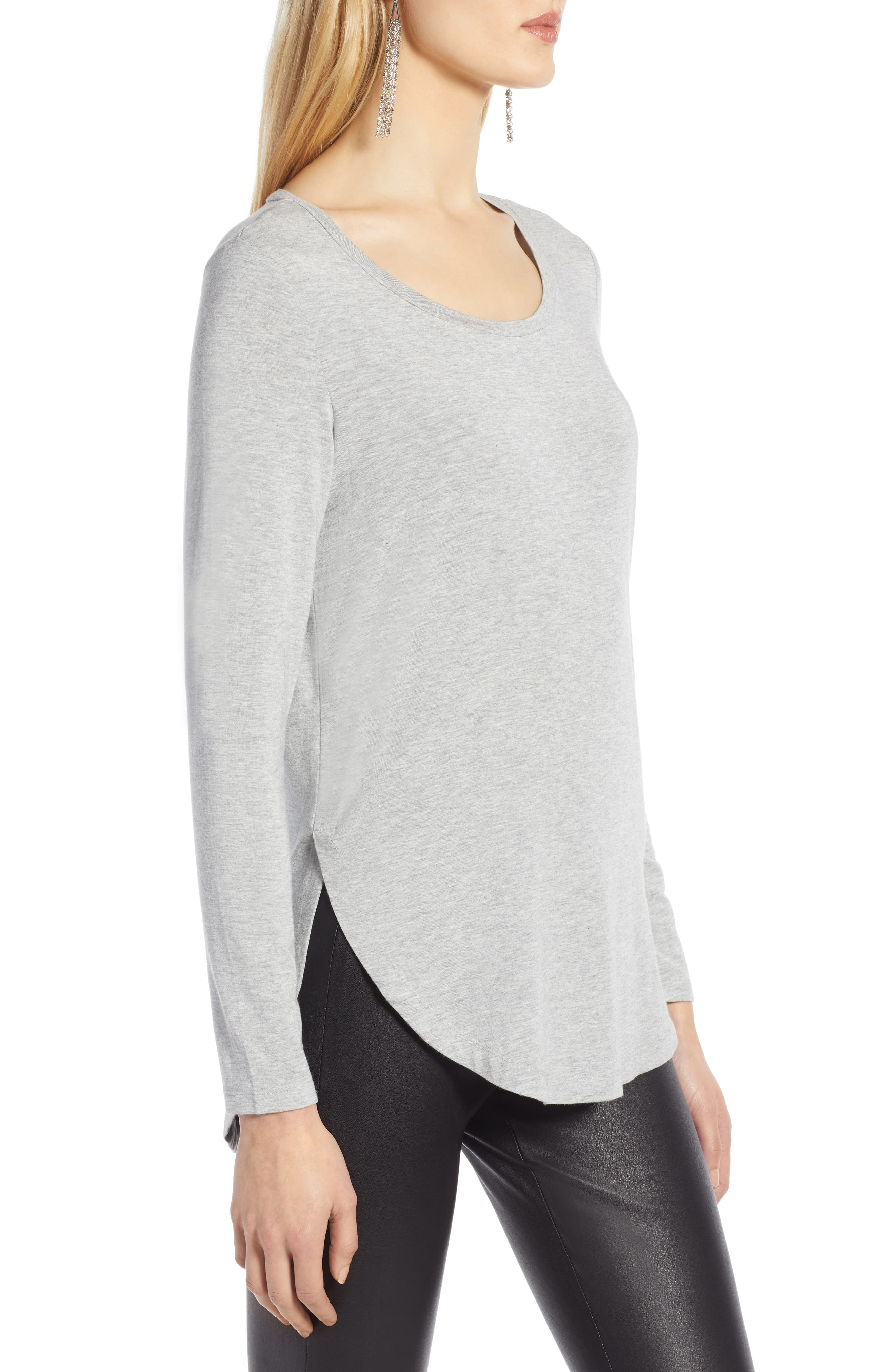 Long Sleeve Knit Tunic,                             Alternate thumbnail 3, color,                             GREY HEATHER