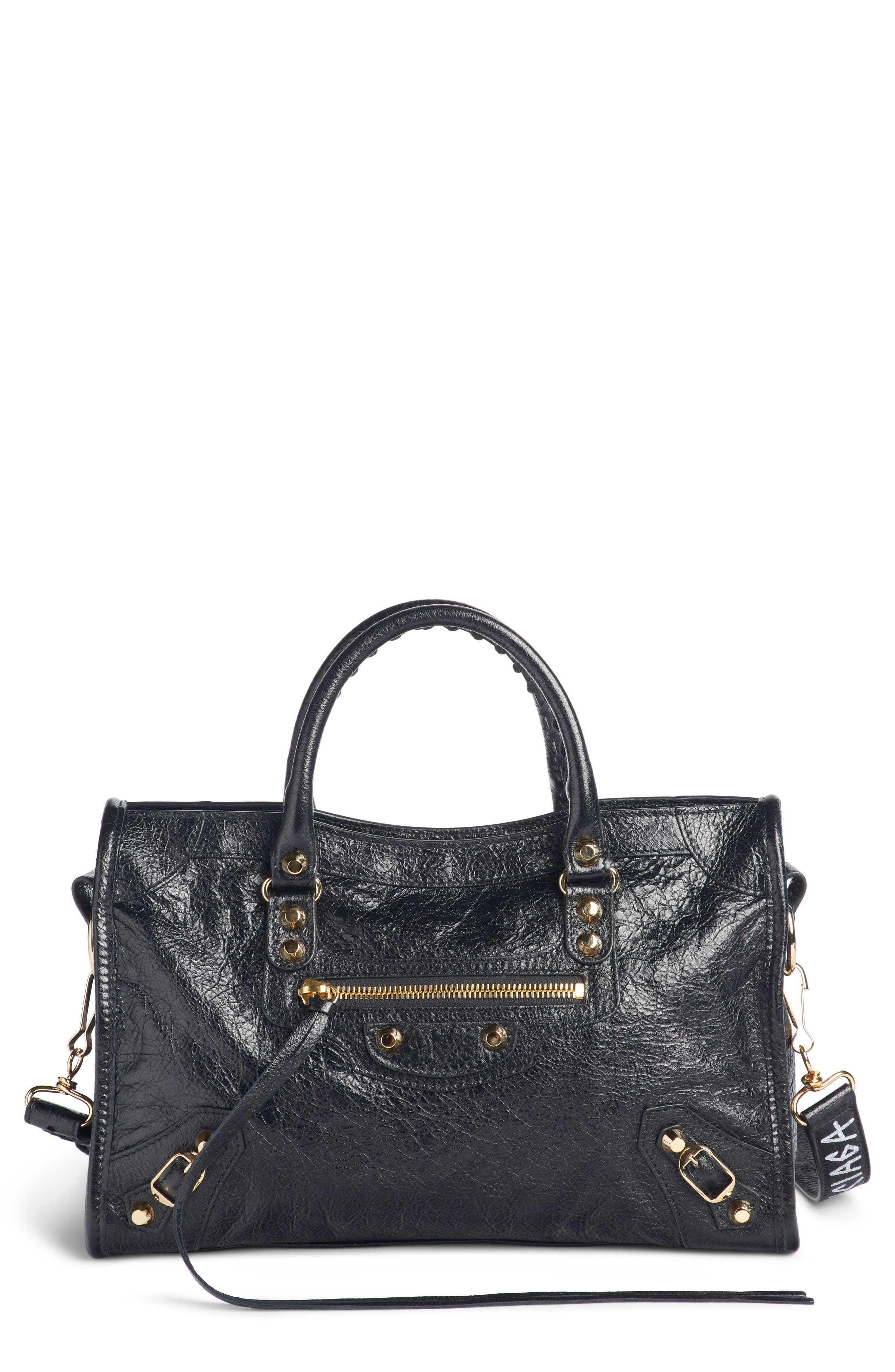 Arena Classic City Leather Tote with Graffiti Strap,                         Main,                         color, NOIR