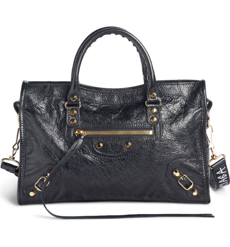 Balenciaga Arena Classic City Leather Tote With Graffiti Strap - Black In Noir