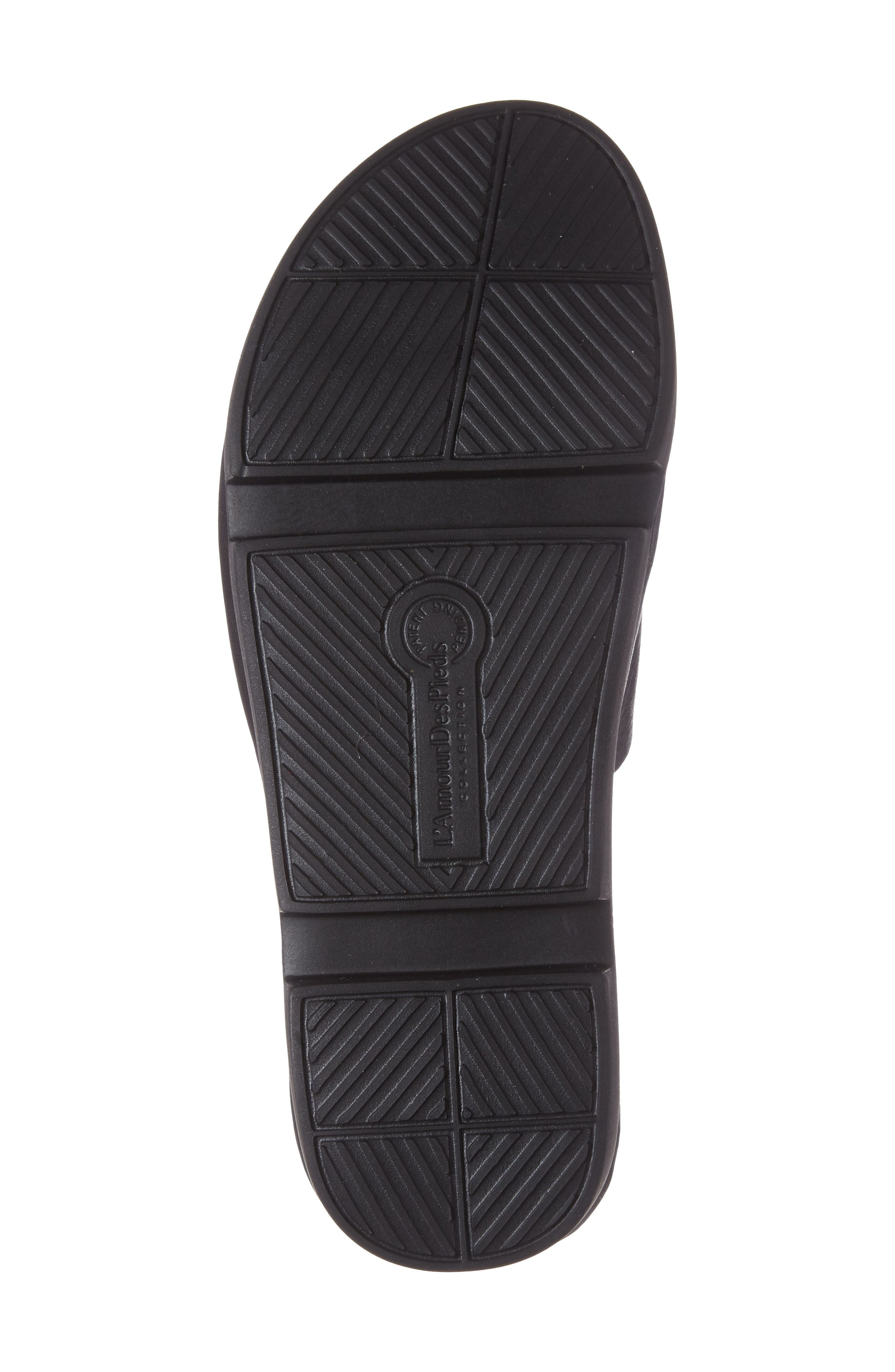 Viareggio Slide Sandal,                             Alternate thumbnail 4, color,                             BLACK LEATHER