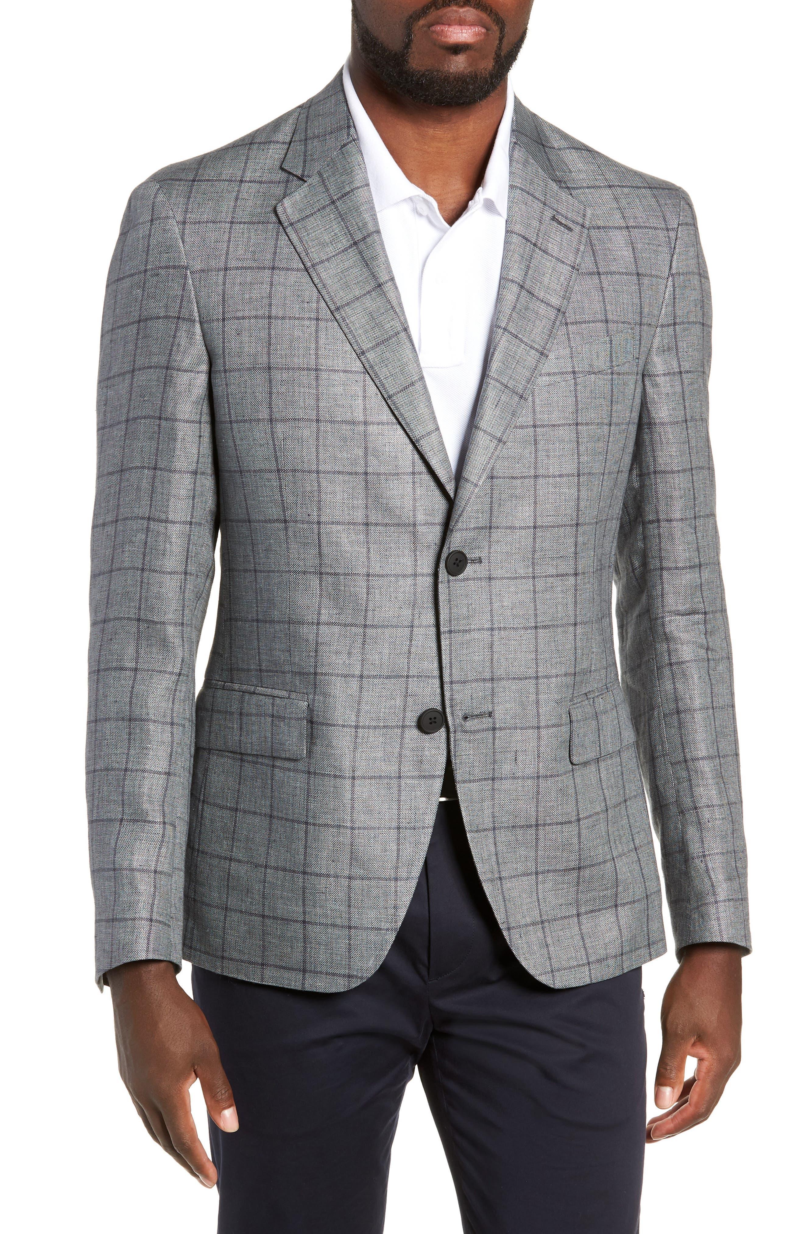 Men's Nordstrom Men's Shop Trim Fit Windowpane Linen Sport Coat, Size 36 R - Grey