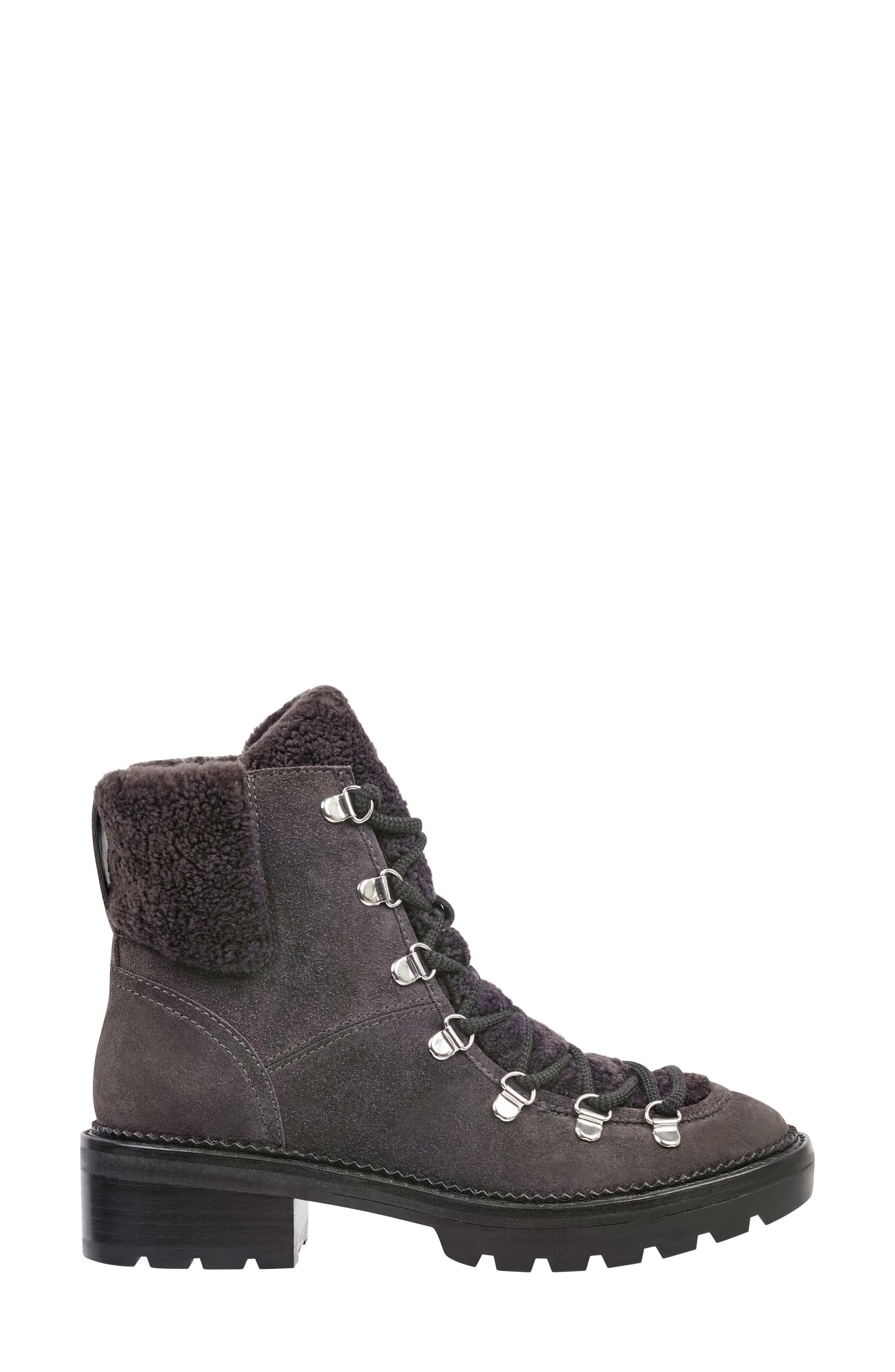 MARC FISHER LTD,                             Capell Genuine Shearling Cuff Lace-Up Boot,                             Alternate thumbnail 3, color,                             GREY SUEDE