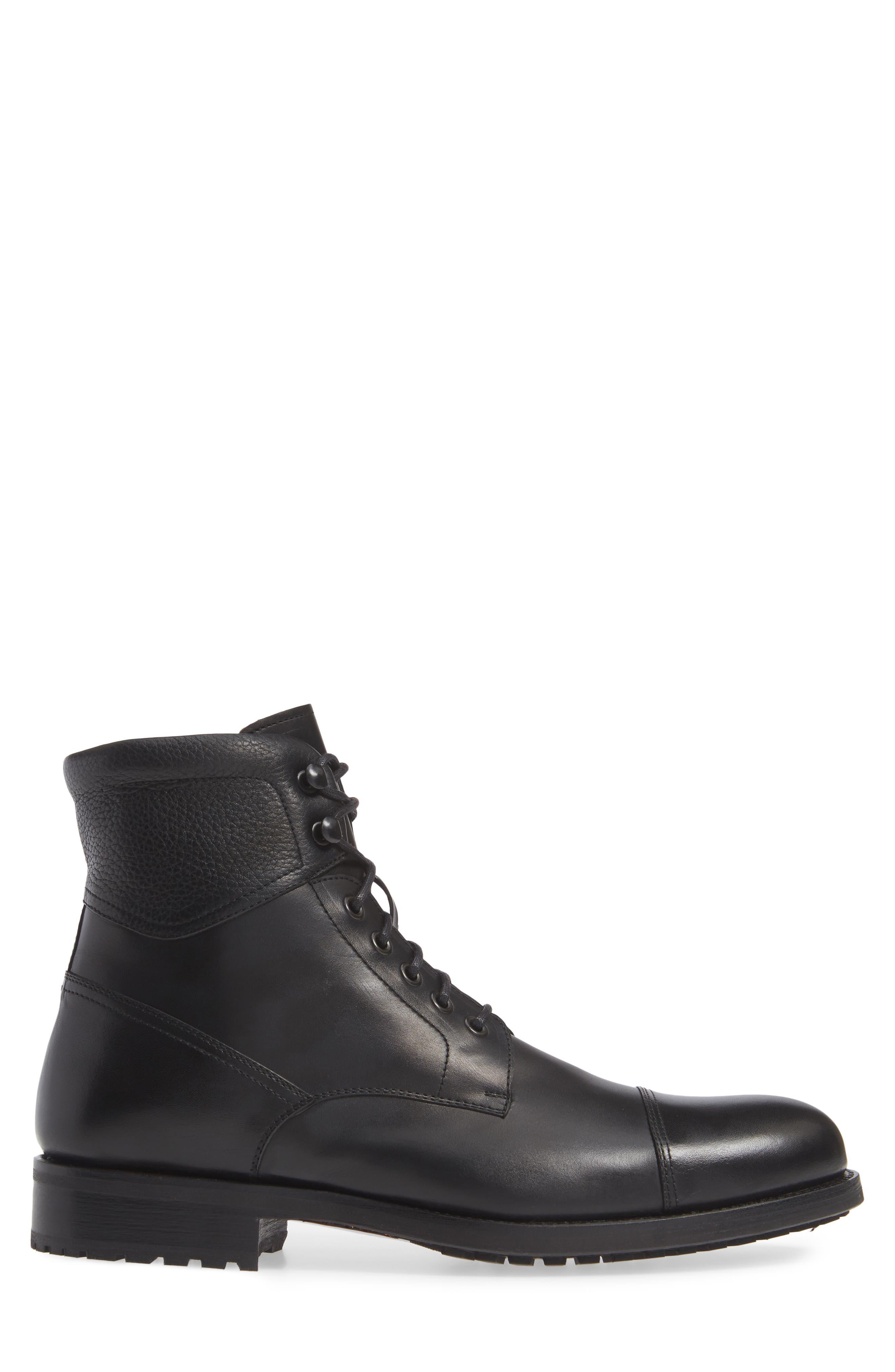 Peyton Cap Toe Boot,                             Alternate thumbnail 3, color,                             BLACK LEATHER