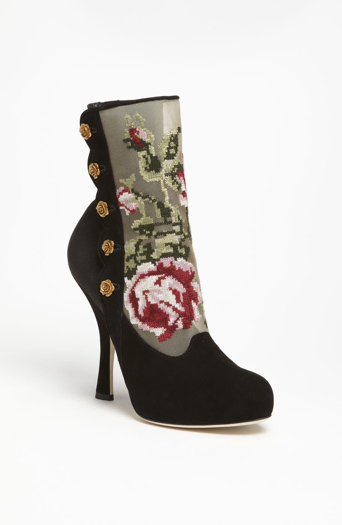 Tapestry Suede Bootie,                             Main thumbnail 1, color,                             001