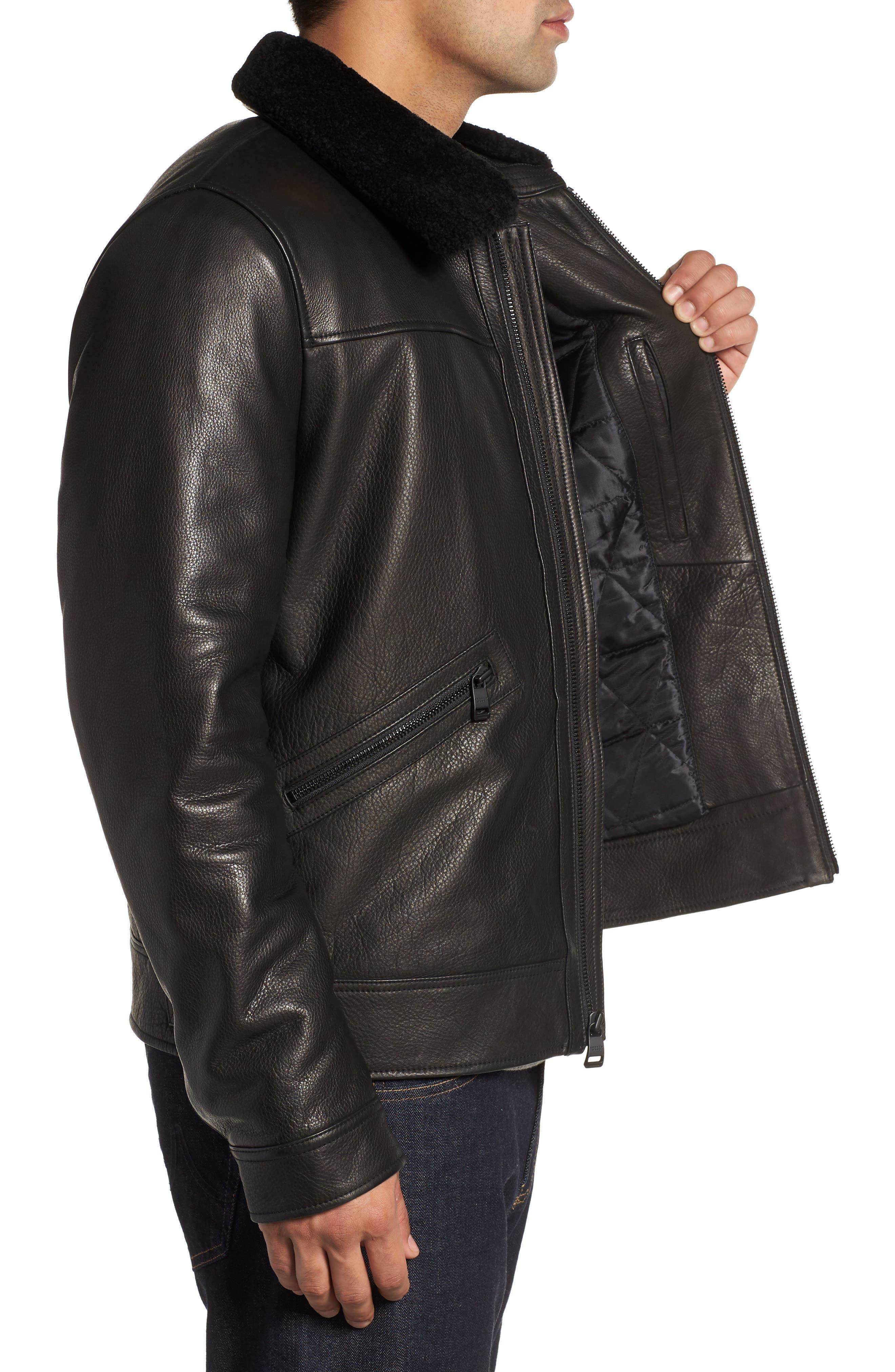 Kilmer Genuine Shearling Bomber Jacket,                             Alternate thumbnail 3, color,                             BLACK