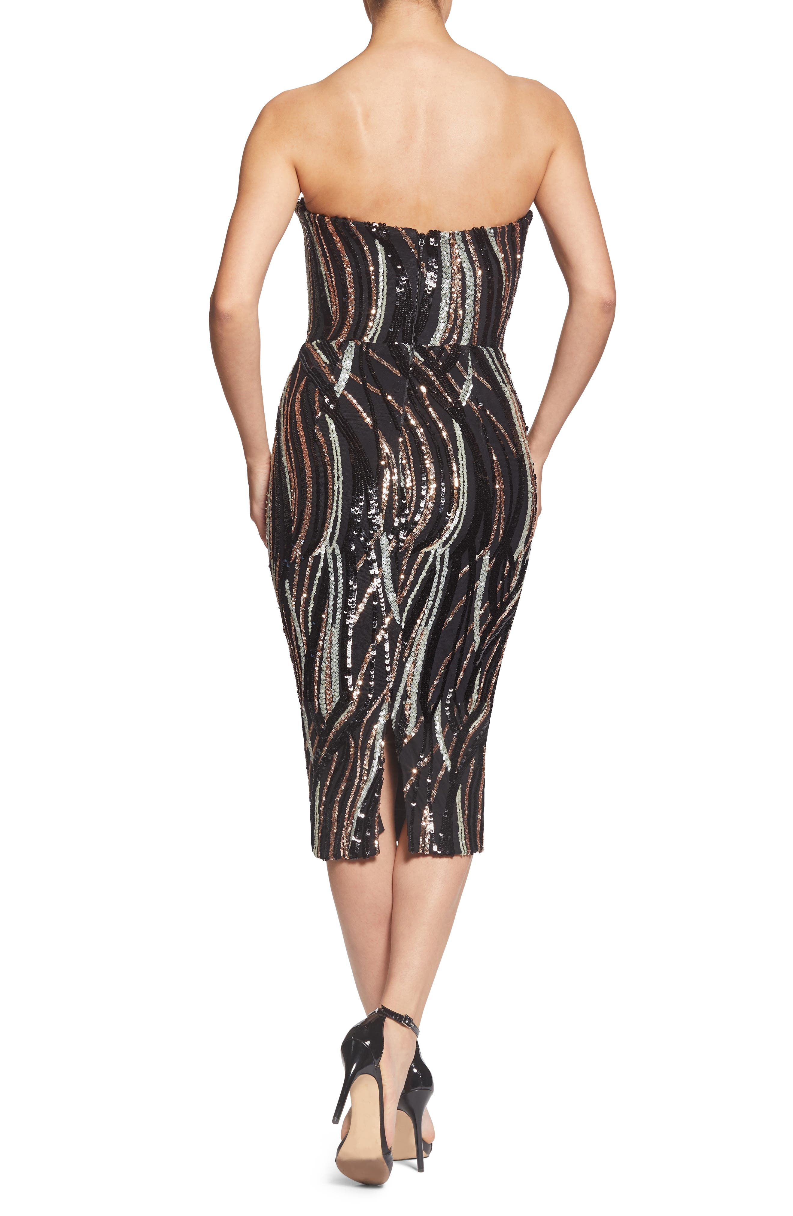 Claire Swirl Stripe Strapless Body-Con Dress,                             Alternate thumbnail 2, color,                             BLACK/ BRONZE/ BONE