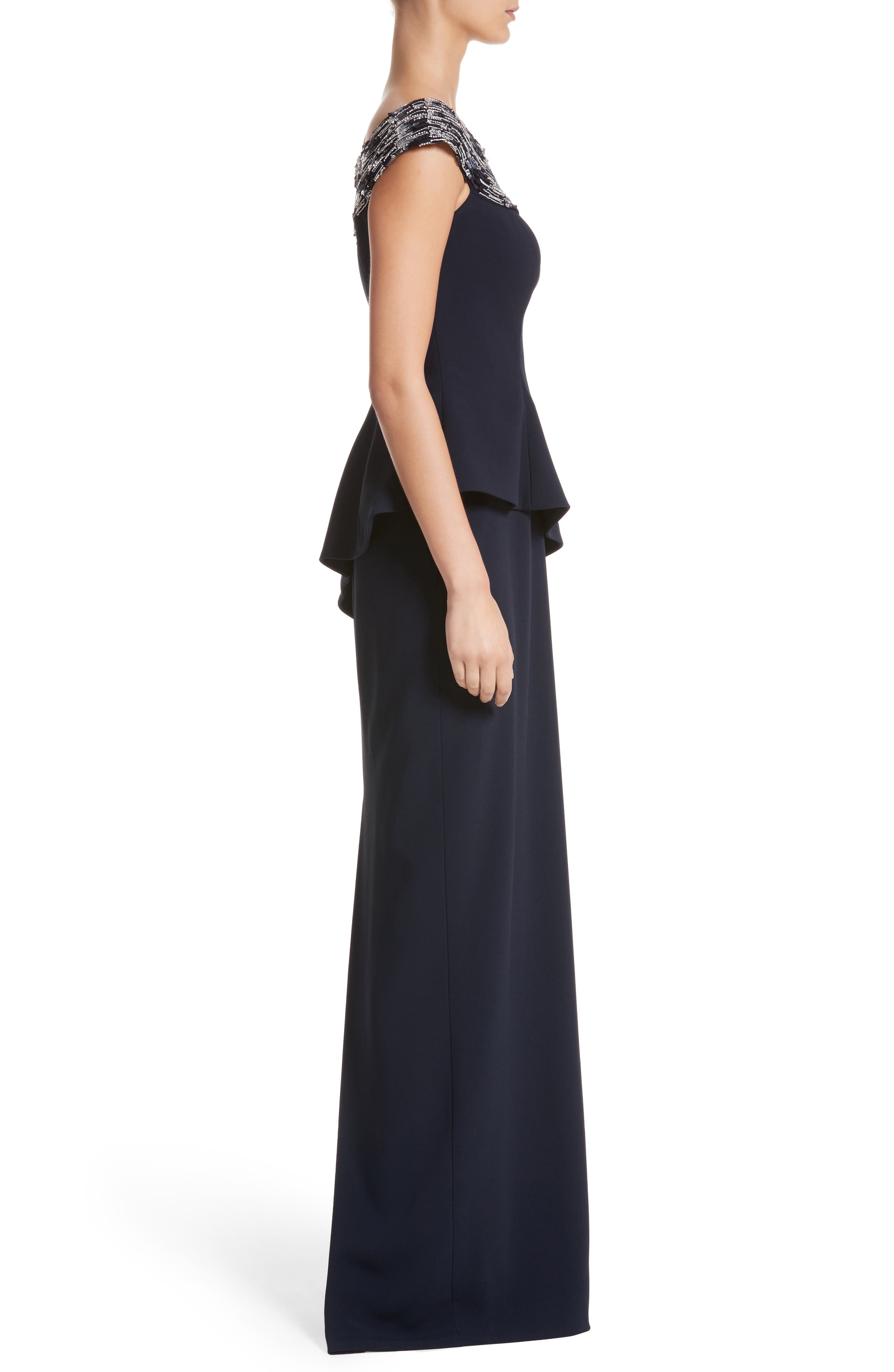 Embellished Off the Shoulder Peplum Gown,                             Alternate thumbnail 3, color,