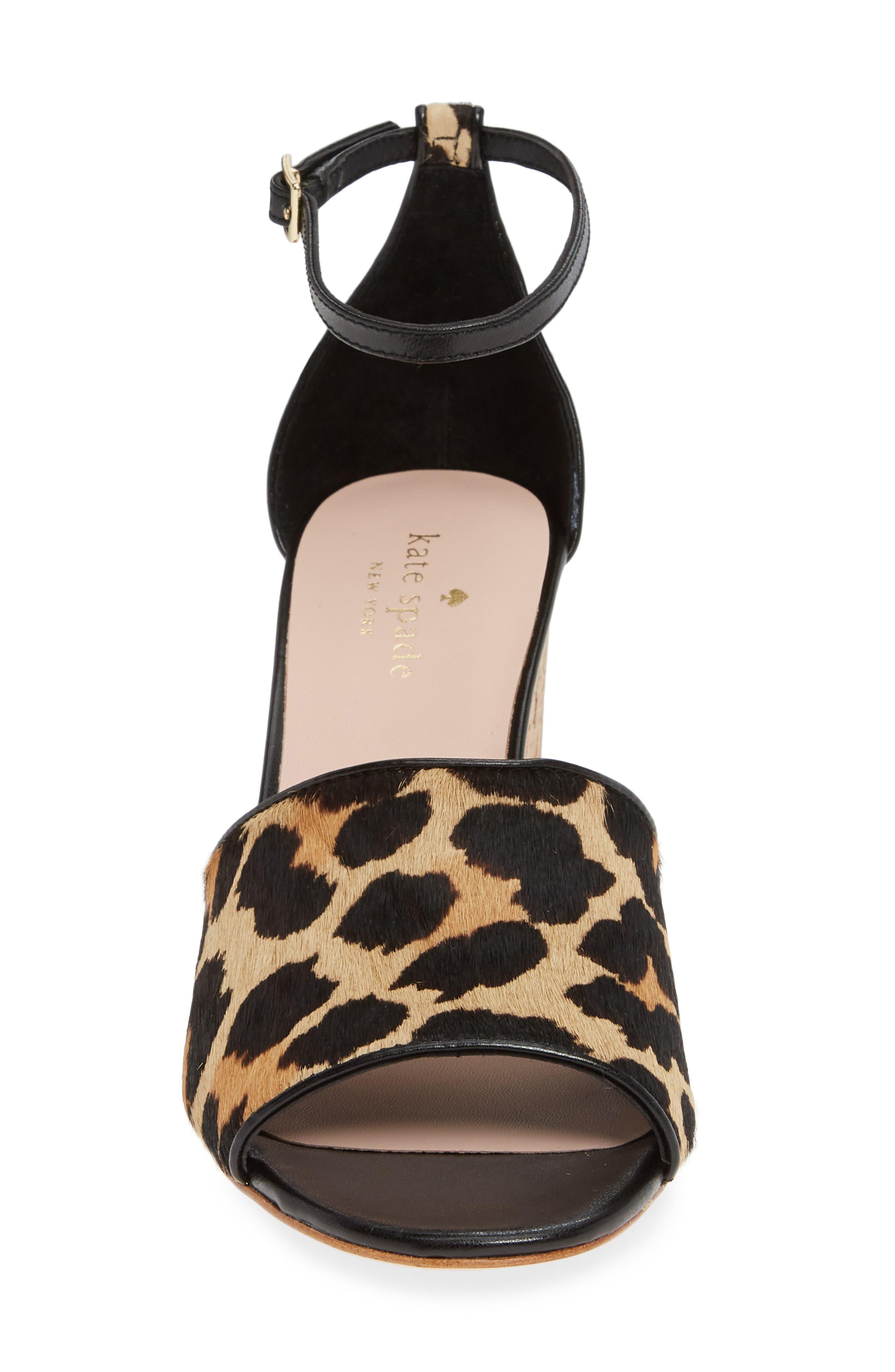 KATE SPADE NEW YORK,                             lonnie genuine calf hair wedge sandal,                             Alternate thumbnail 4, color,                             BLACK/ AMARETTO LEOPARD