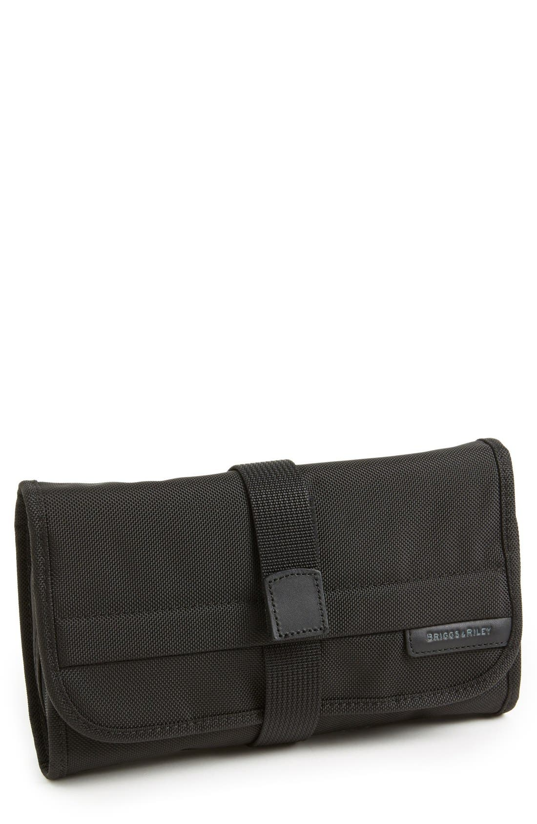 'Baseline' Compact Trifold Toiletry Kit,                         Main,                         color, BLACK