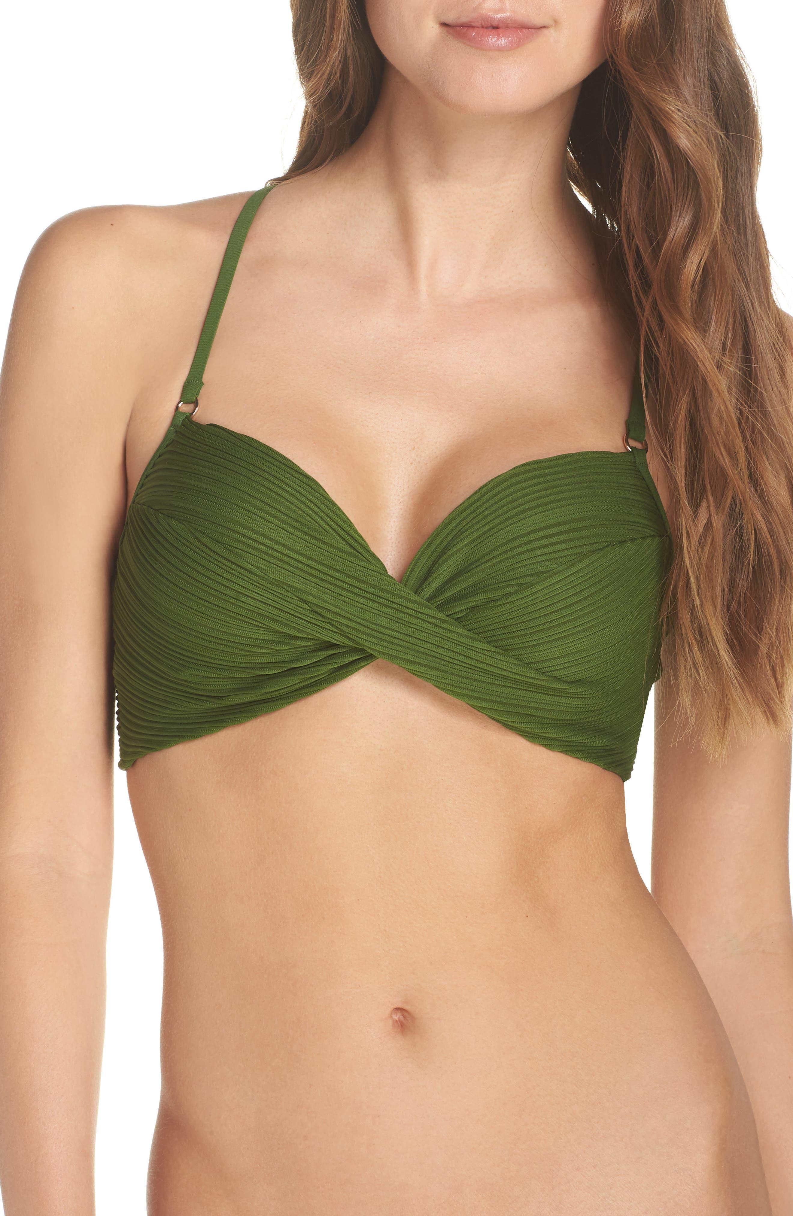 Robin Piccone Twist Bikini Top, Green