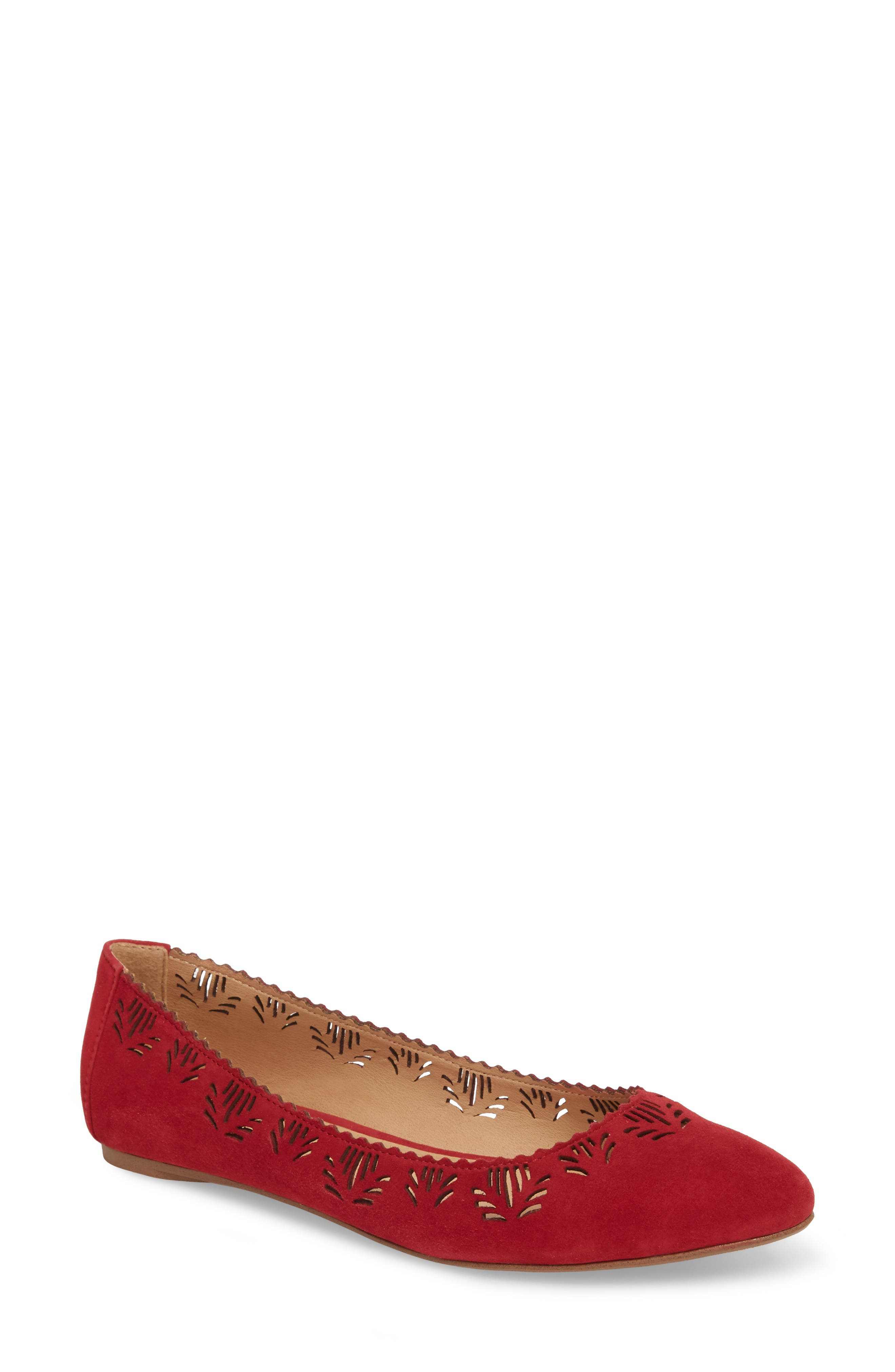 Virginia Flat,                             Main thumbnail 1, color,                             RED SUEDE