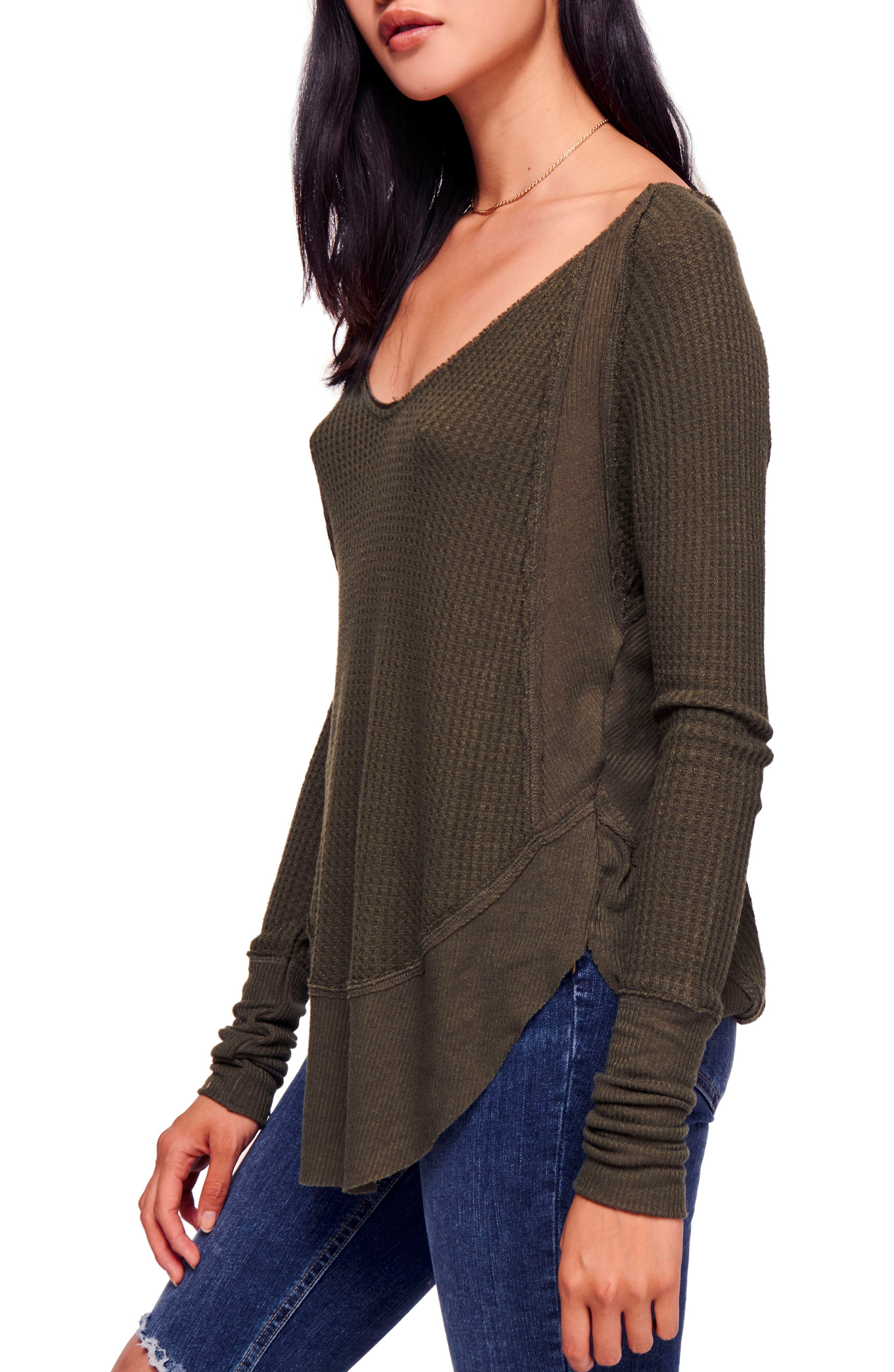 We the Free by Free People Catalina V-Neck Thermal Top,                             Alternate thumbnail 3, color,                             MOSS
