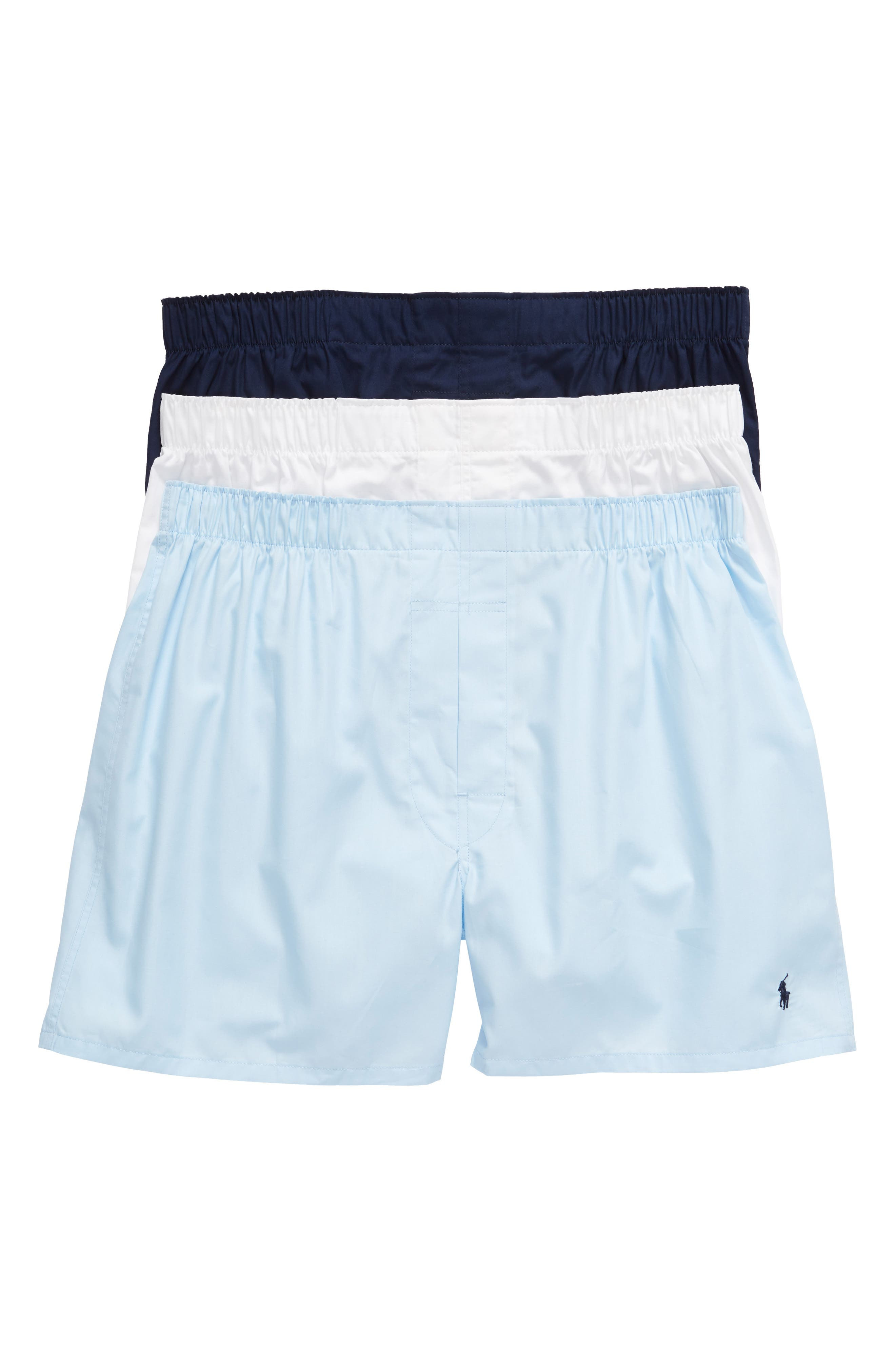 3-Pack Cotton Boxers,                         Main,                         color, WHITE/ LIGHT BLUE/ CRUISE NAVY