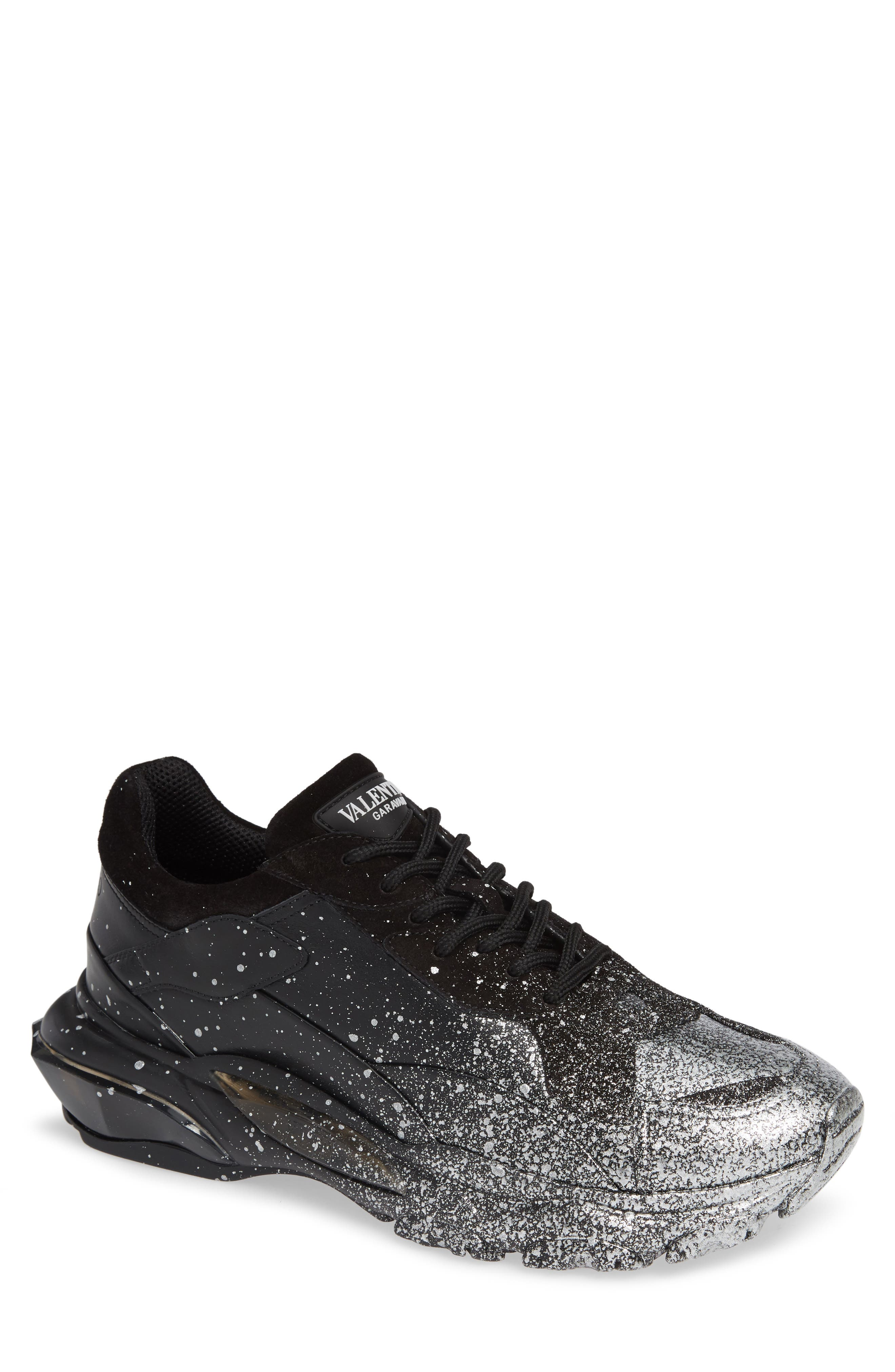 Bounce Paint Splatter Sneaker,                         Main,                         color, BLACK/ SILVER