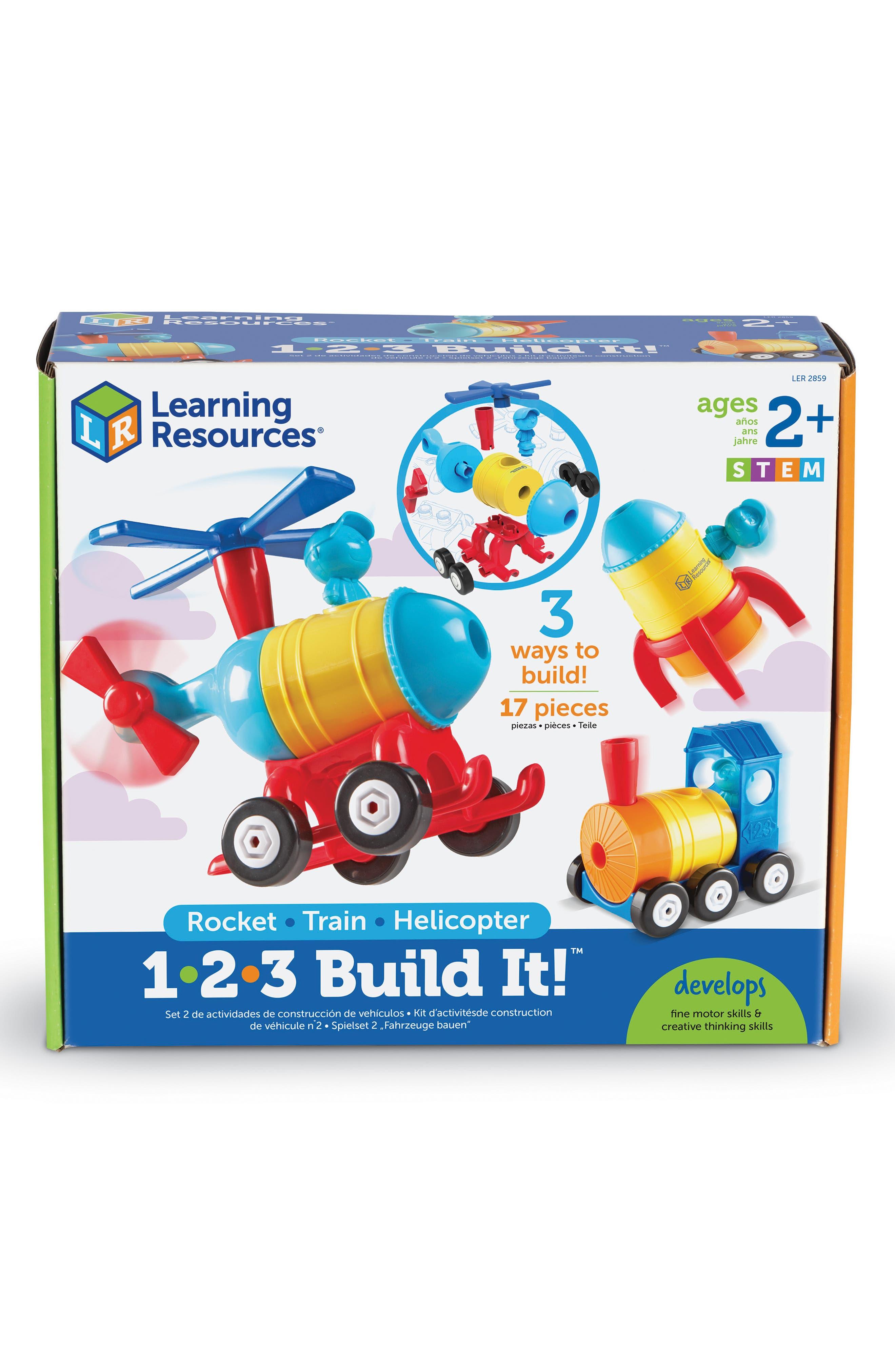 1-2-3 Build It<sup>™</sup> Rocket/Train/Helicopter Building Kit,                             Main thumbnail 1, color,                             MULTI