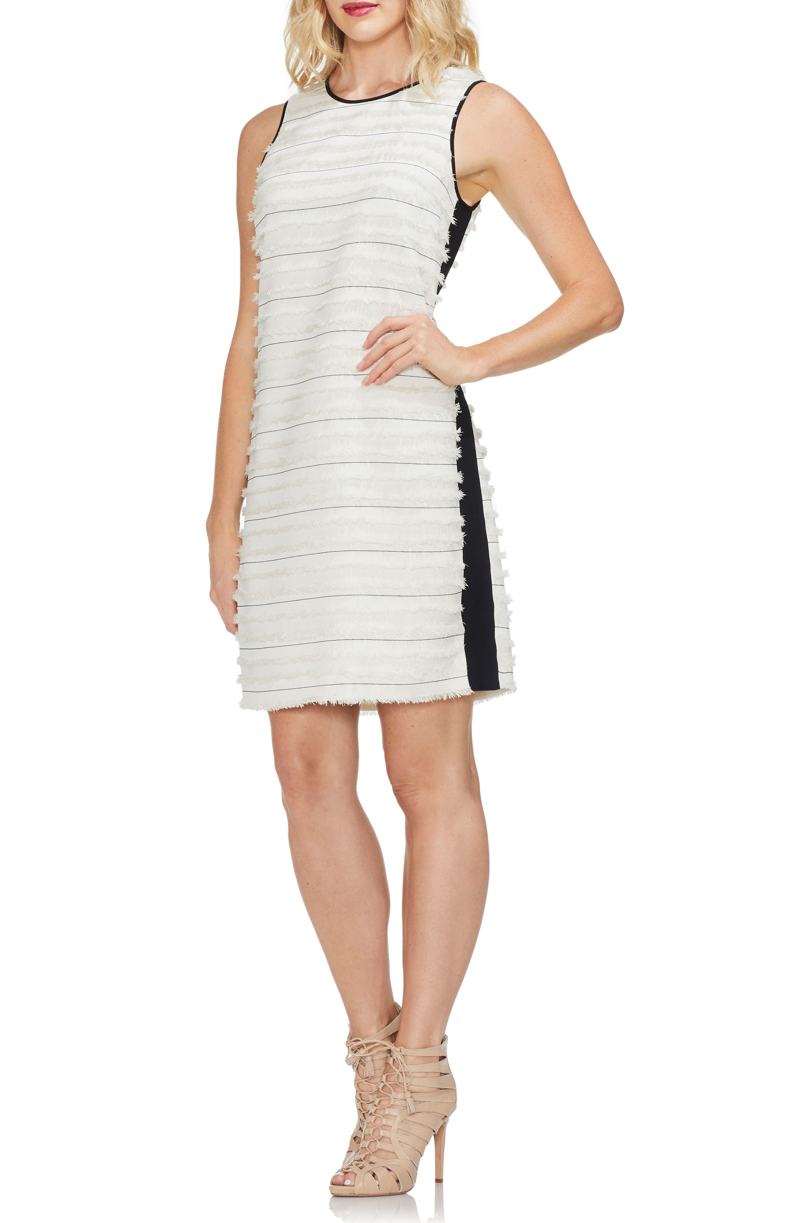 Vince Camuto Clipped Stripe Mixed Media Dress, White