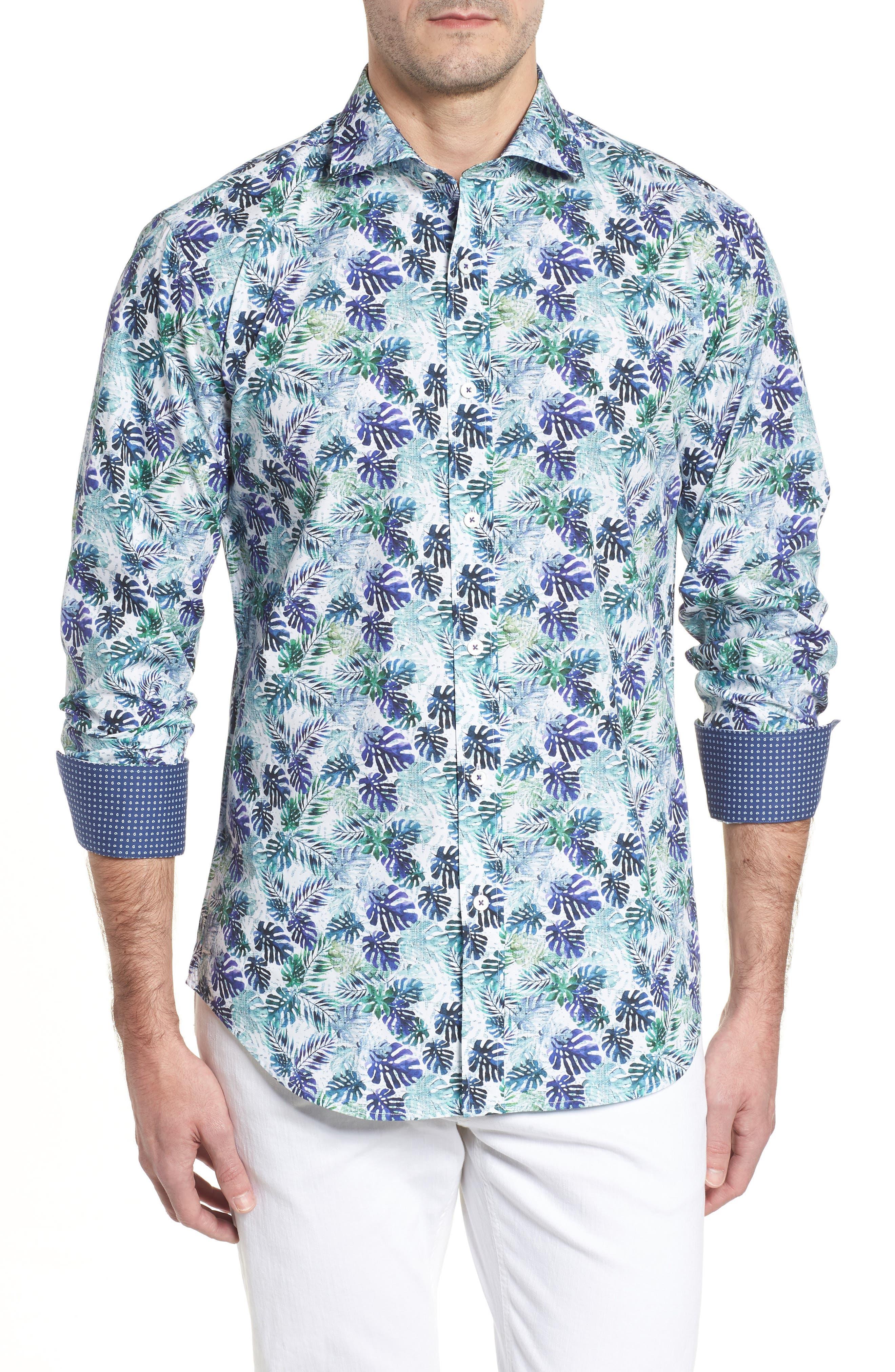 Shaped Fit Blue Leaves Sport Shirt,                         Main,                         color, 504