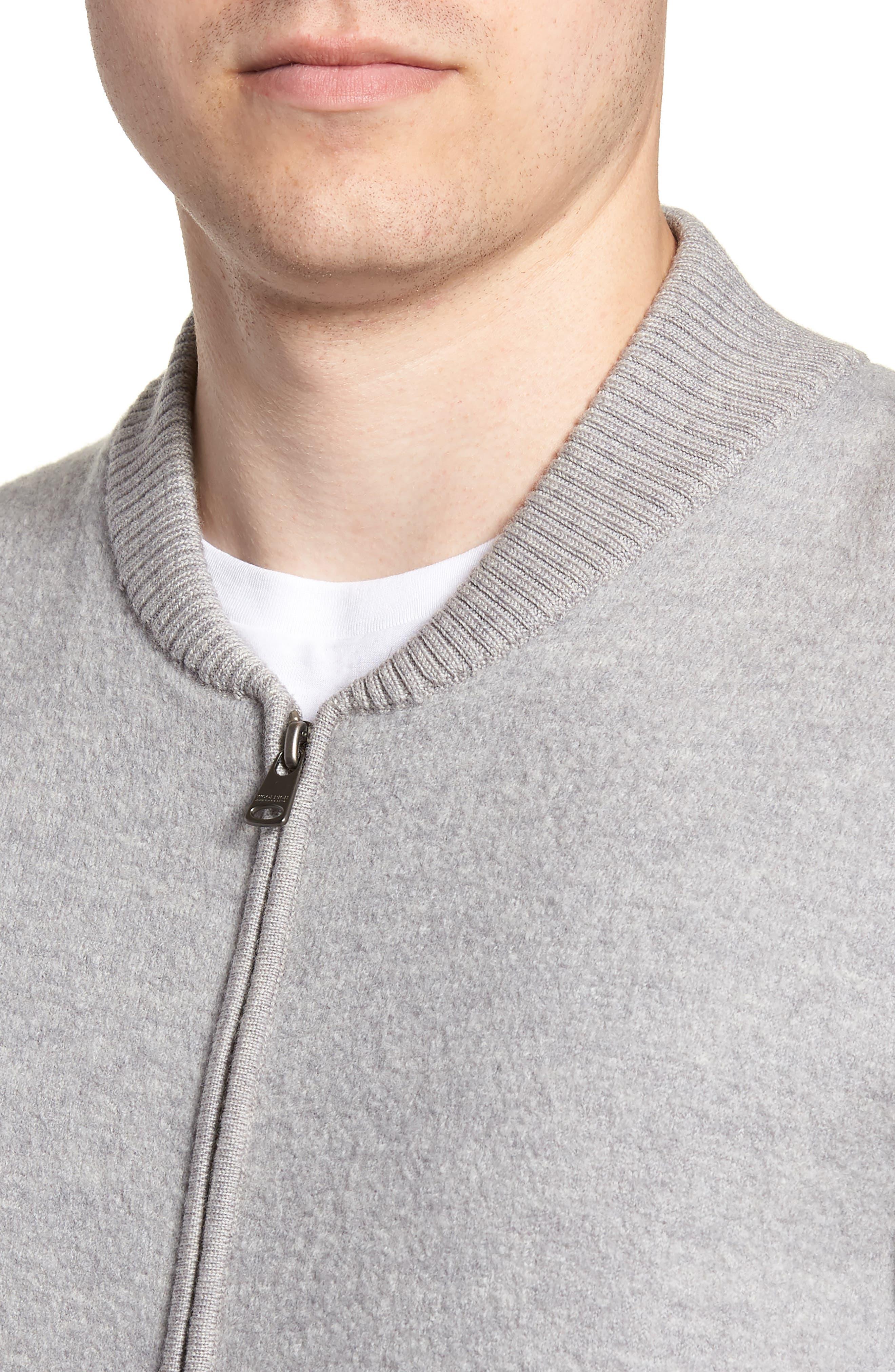 Felted Wool Bomber Jacket,                             Alternate thumbnail 4, color,                             LIGHT GREY MELANGE