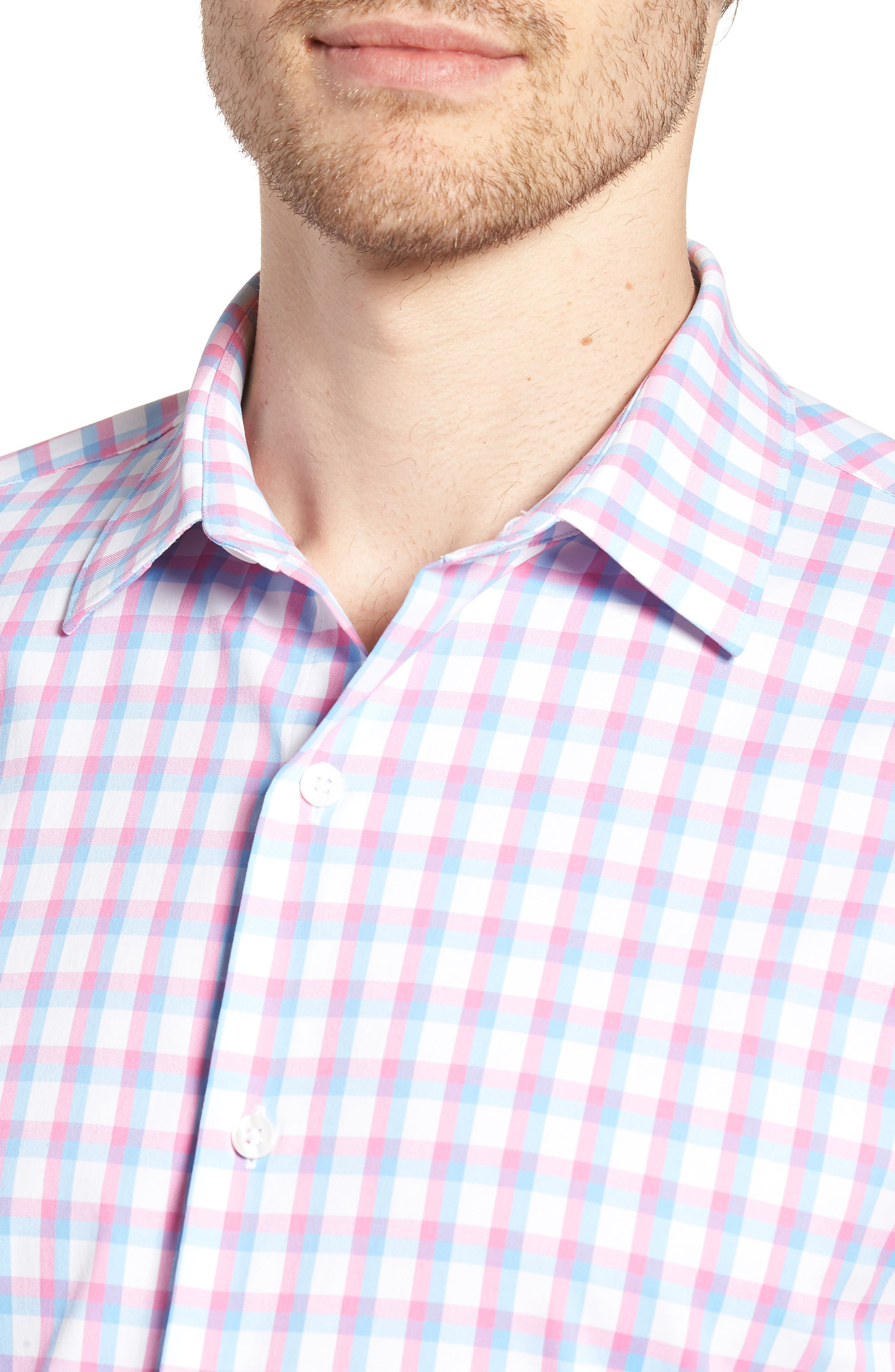 Slim Fit Check Performance Sport Shirt,                             Alternate thumbnail 4, color,