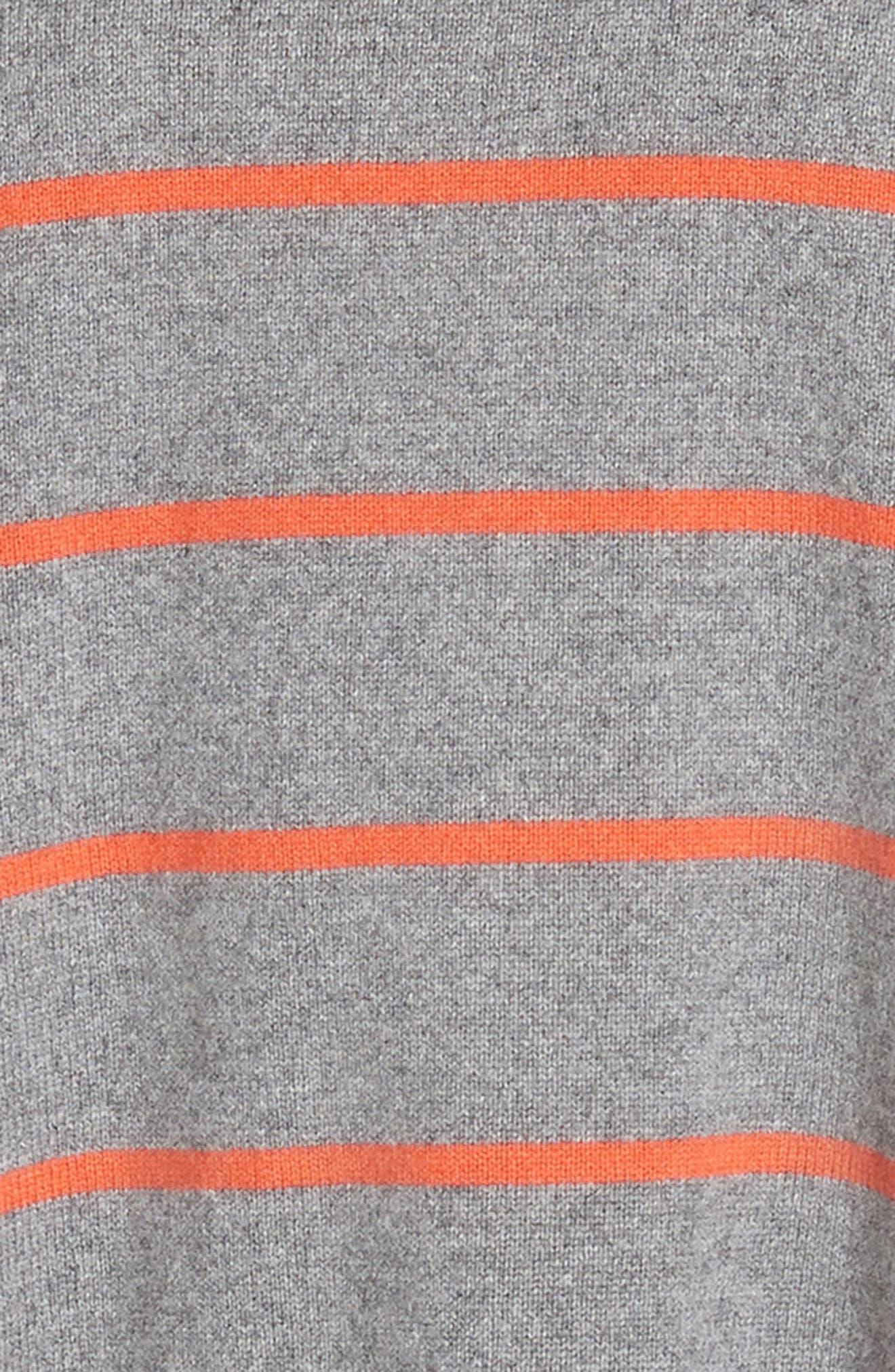 Stripe Boxy Cashmere & Wool Sweater,                             Alternate thumbnail 5, color,                             ASH