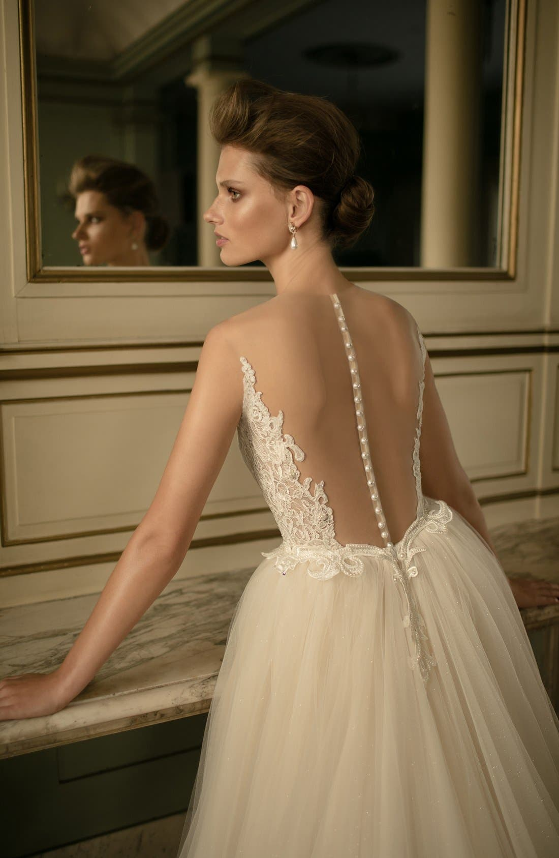 Beaded Lace & Tulle Ballgown,                             Alternate thumbnail 3, color,                             900
