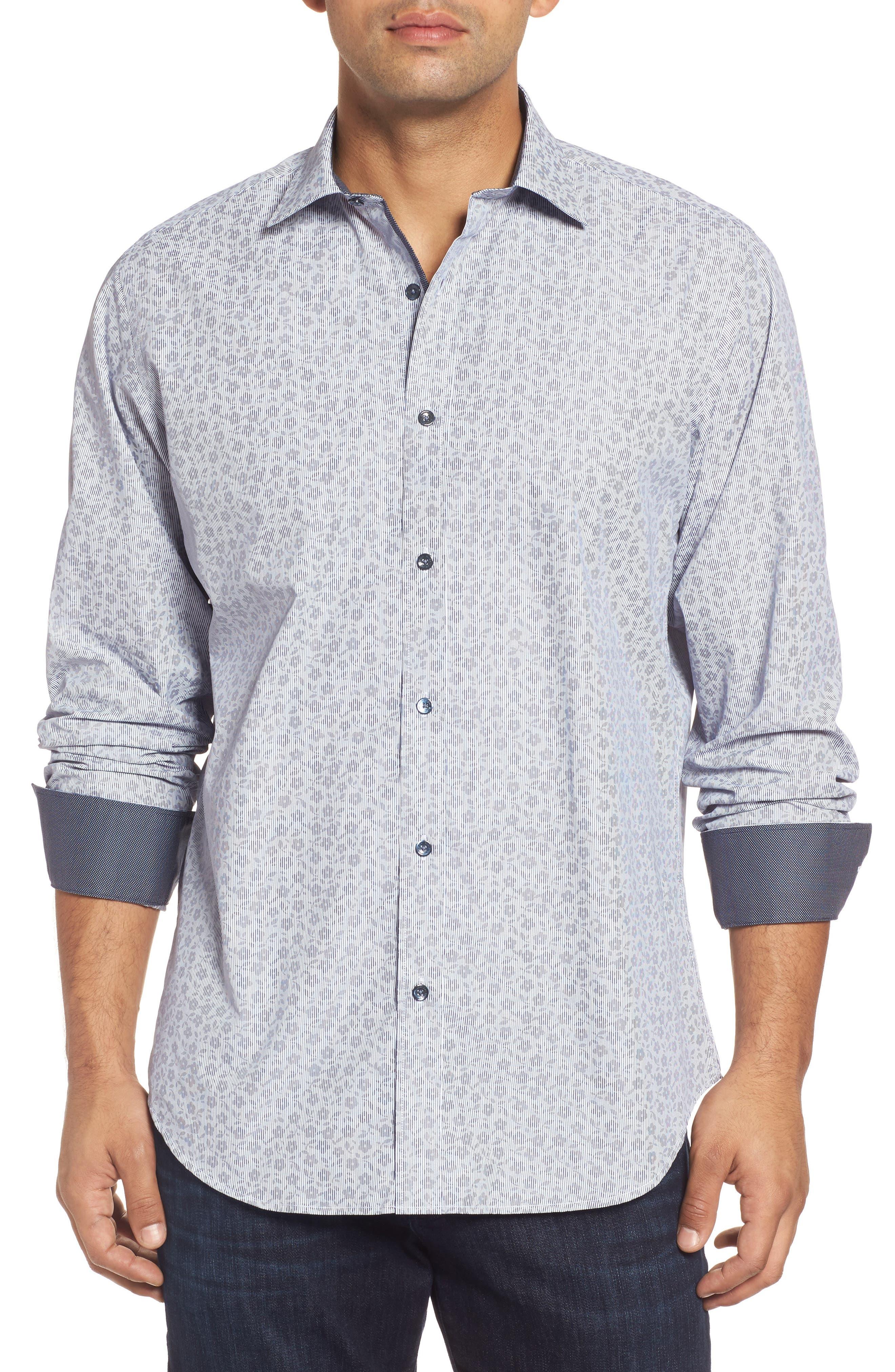 Classic Fit Floral Pinstripe Sport Shirt,                             Main thumbnail 1, color,                             030