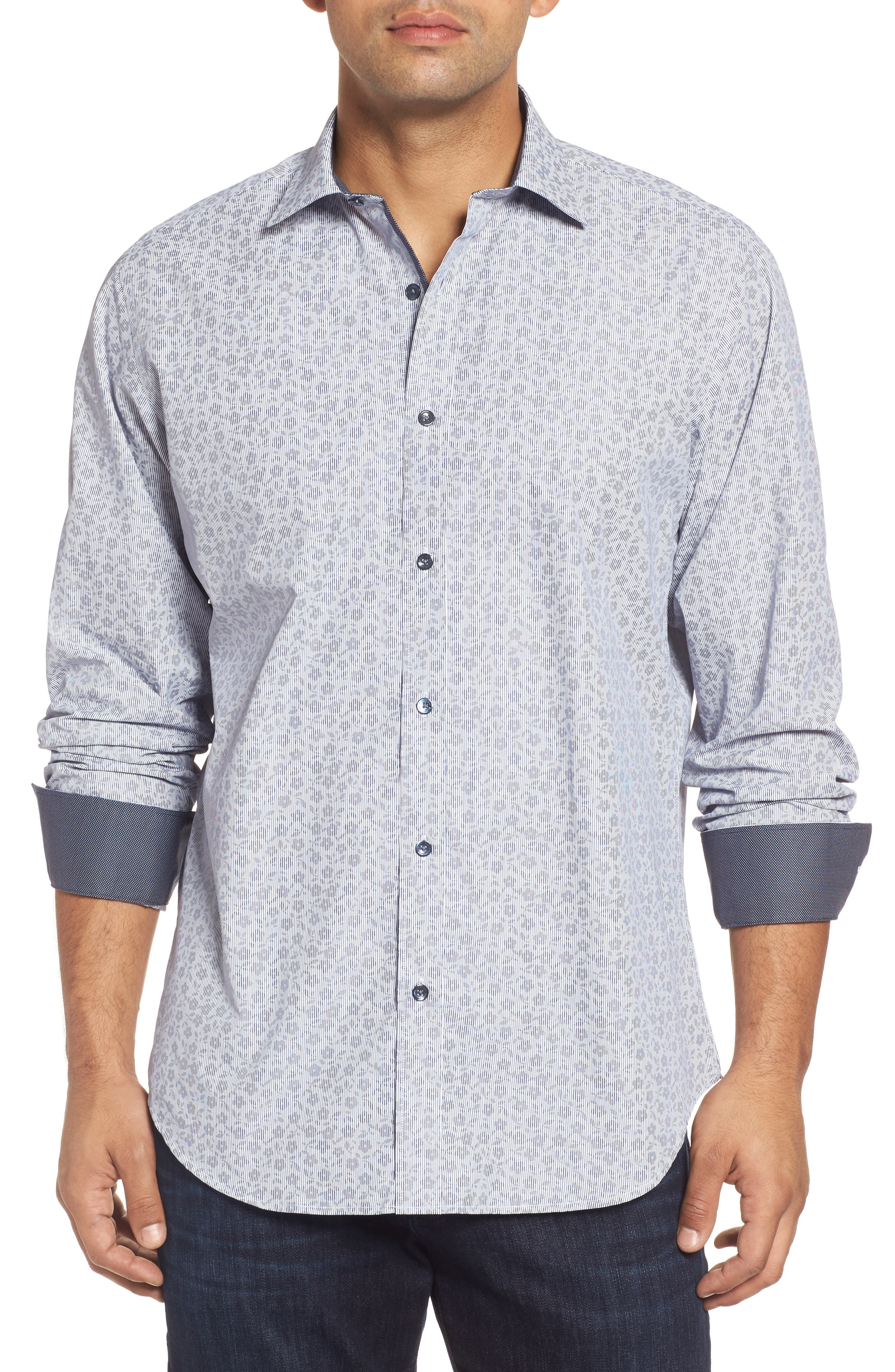 Classic Fit Floral Pinstripe Sport Shirt,                         Main,                         color, 030