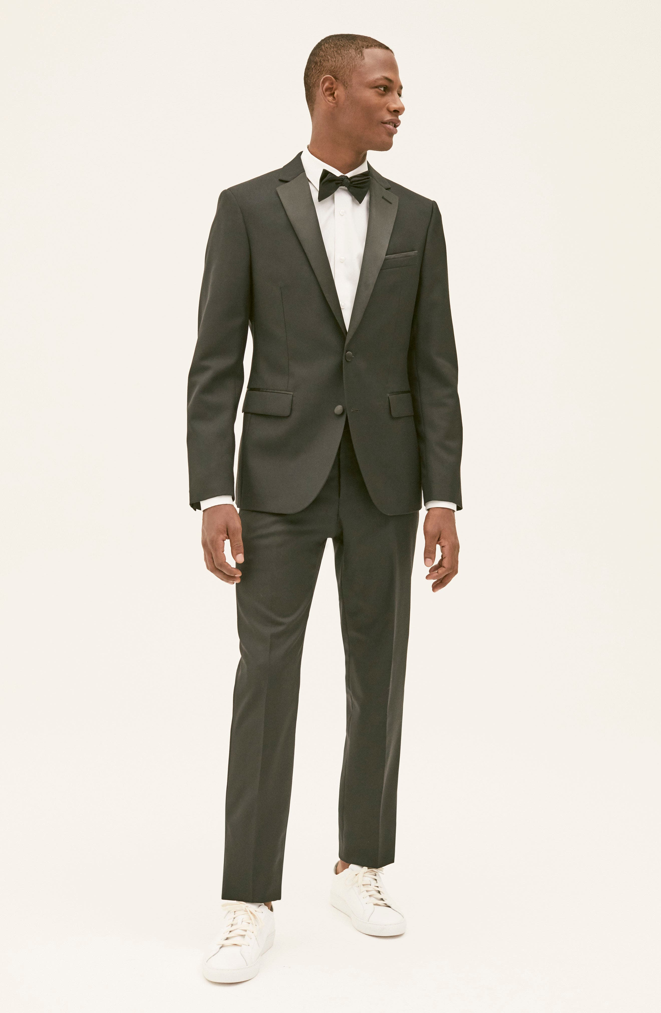 Trim Fit Wool Blend Tuxedo,                             Alternate thumbnail 10, color,                             BLACK