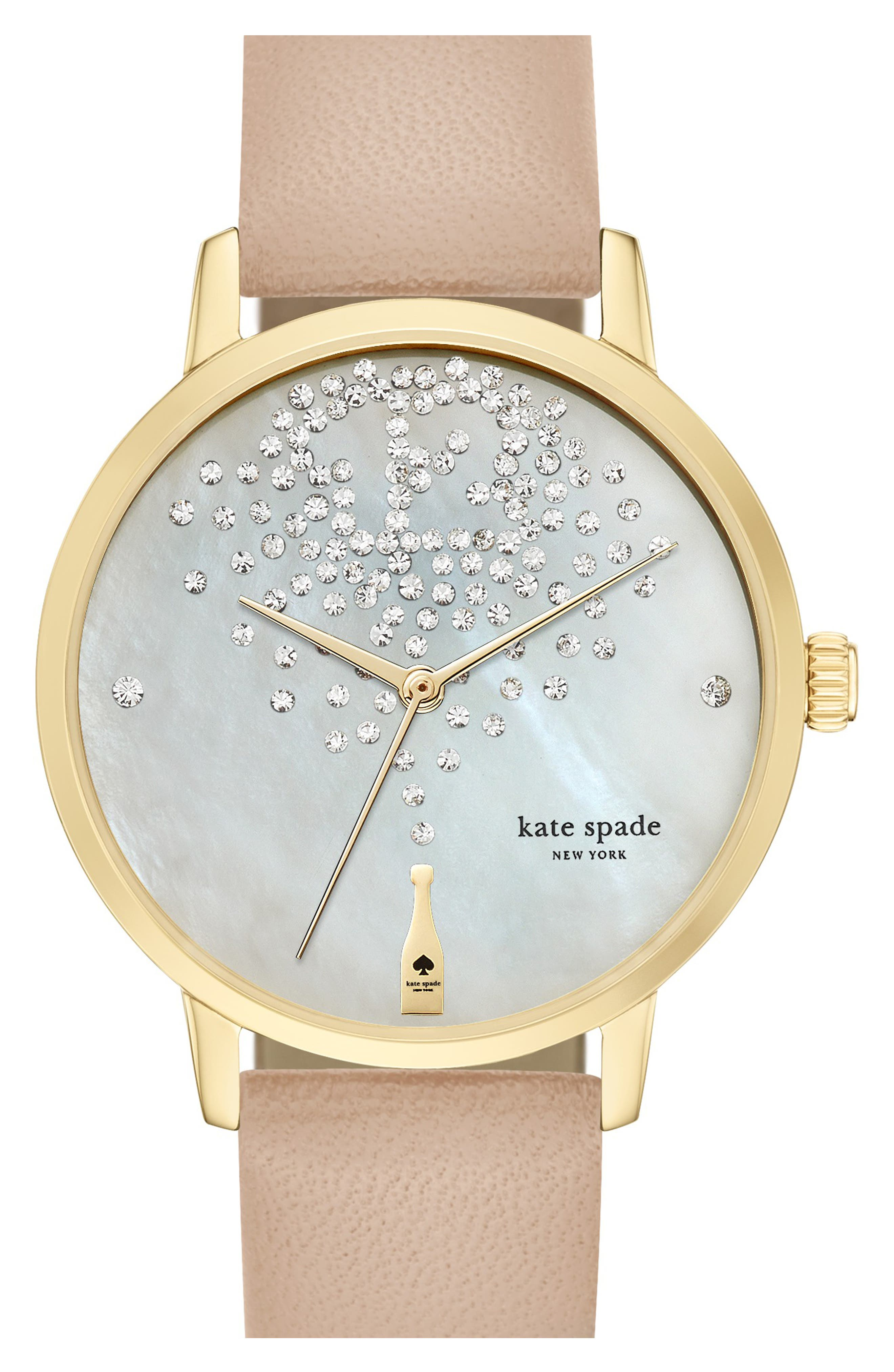 'metro' leather strap watch, 34mm,                         Main,                         color, VACHETTA/ SILVER