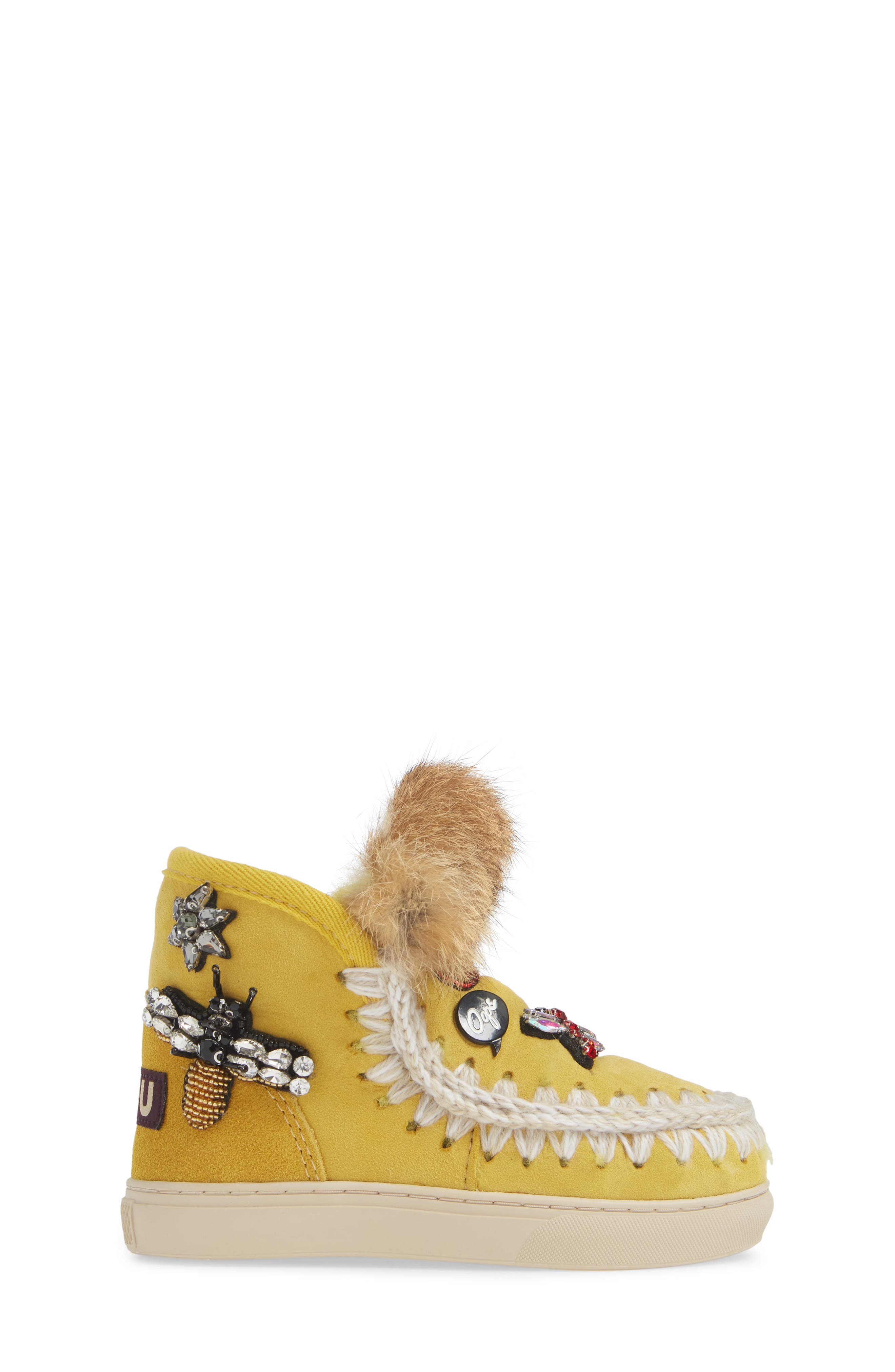 Embellished Genuine Shearling Sneaker Boot,                             Alternate thumbnail 3, color,                             OLIVE YELLOW