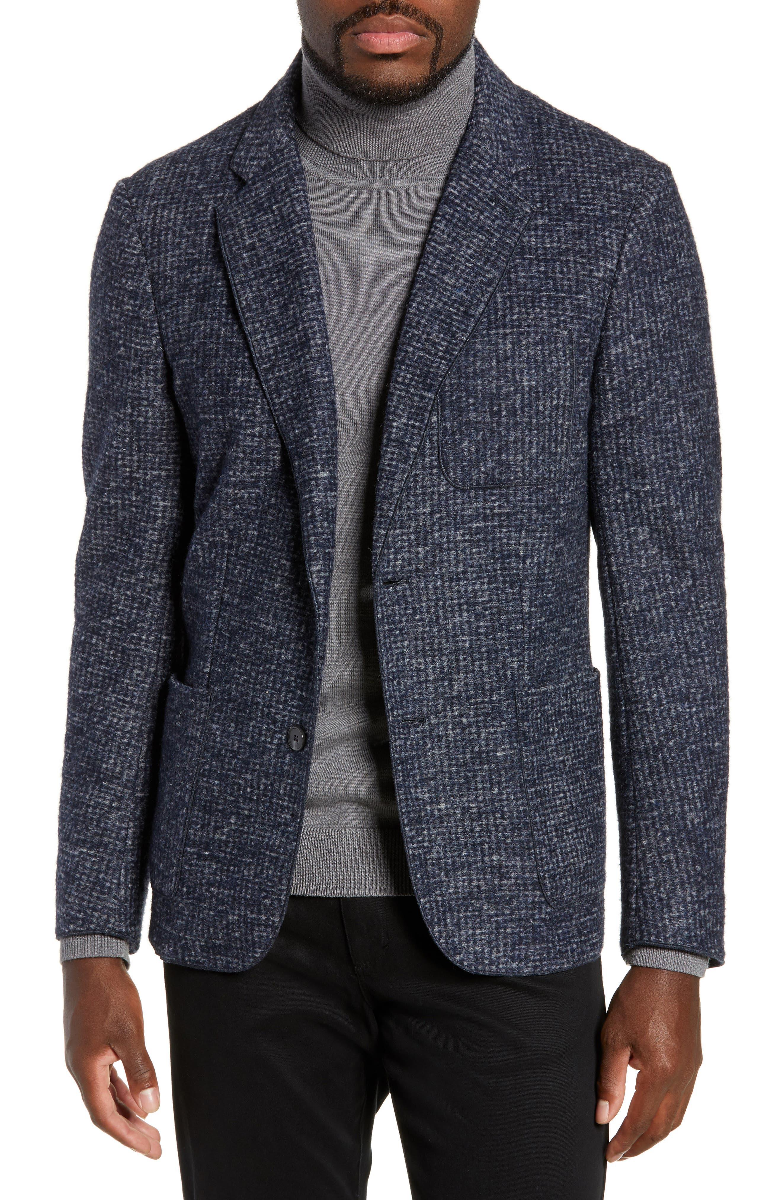 Randolph Houndstooth Knit Sport Coat,                             Main thumbnail 1, color,                             DARK BLUE