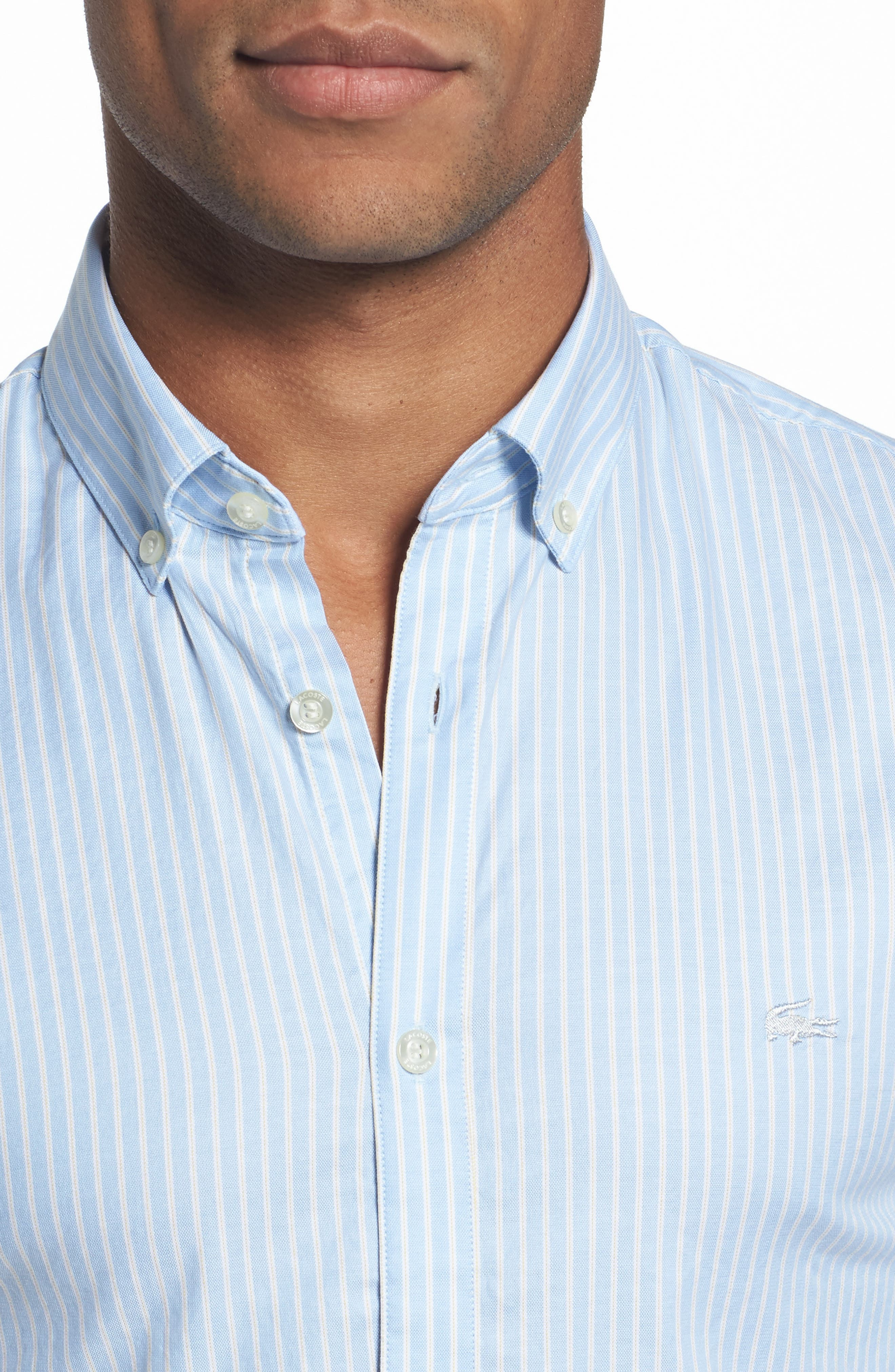 LACOSTE,                             Slim Fit Stripe Shirt,                             Alternate thumbnail 4, color,                             436