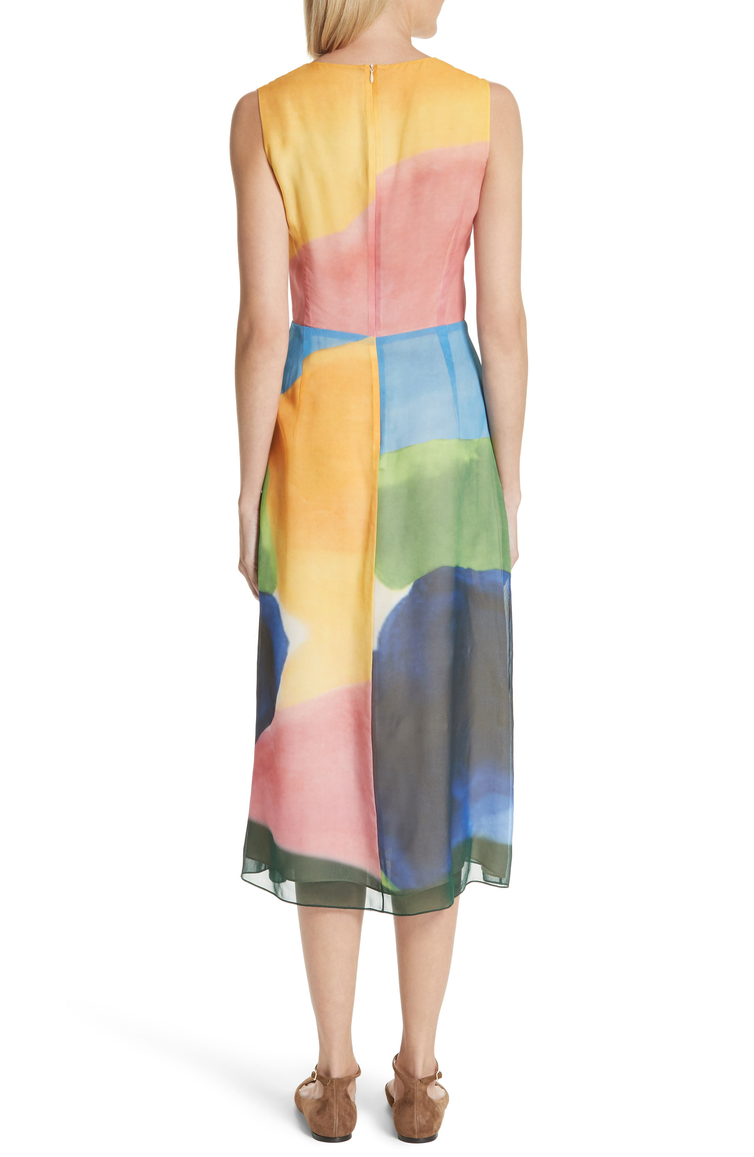 Watercolor Twisted Silk Midi Dress,                             Alternate thumbnail 2, color,                             650