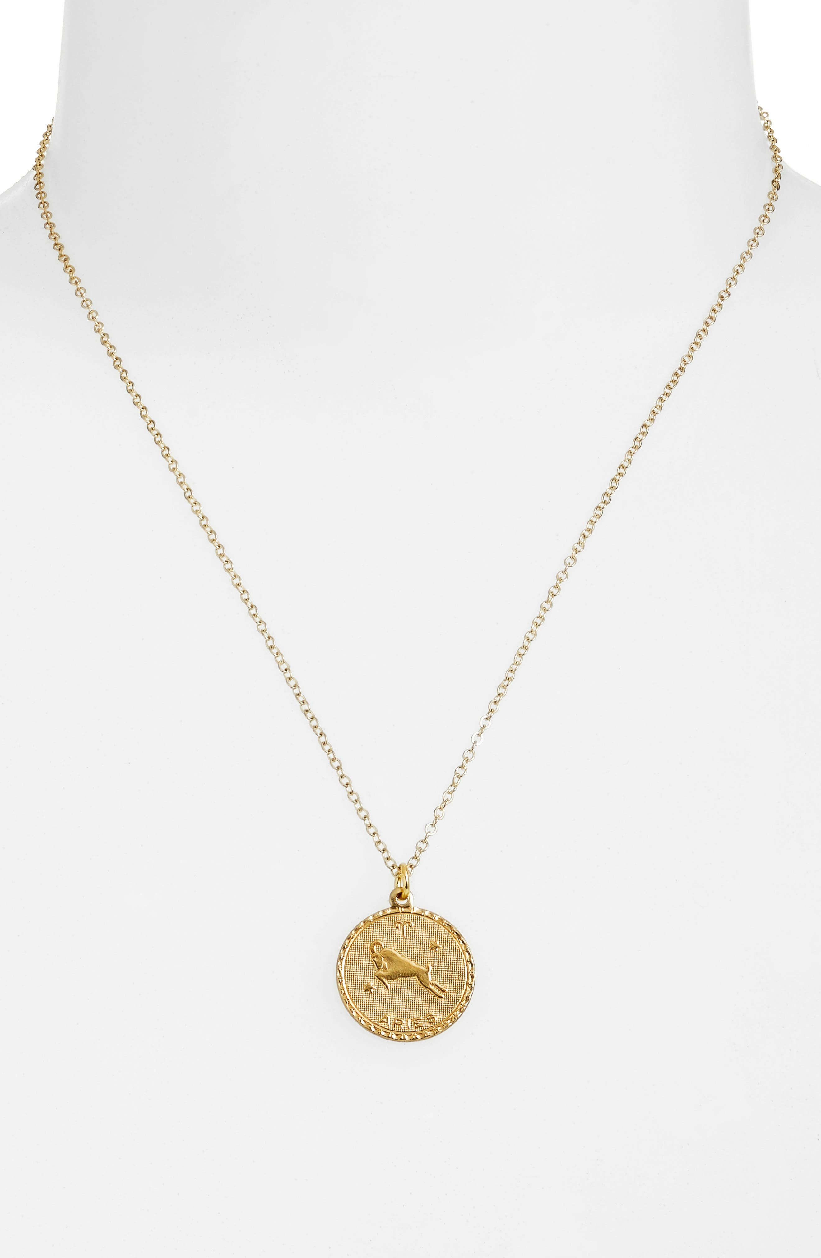 Zodiac Coin Pendant Necklace,                             Alternate thumbnail 2, color,                             GOLD-ARIES