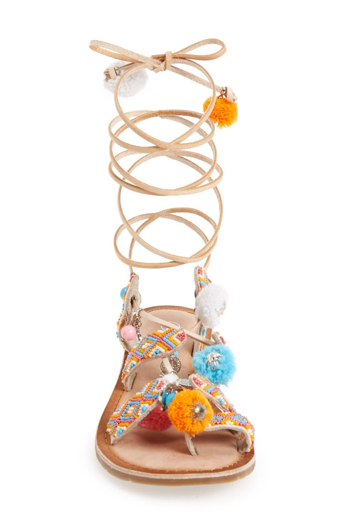 'Posh' Embellished Lace-Up Sandal,                             Alternate thumbnail 6, color,