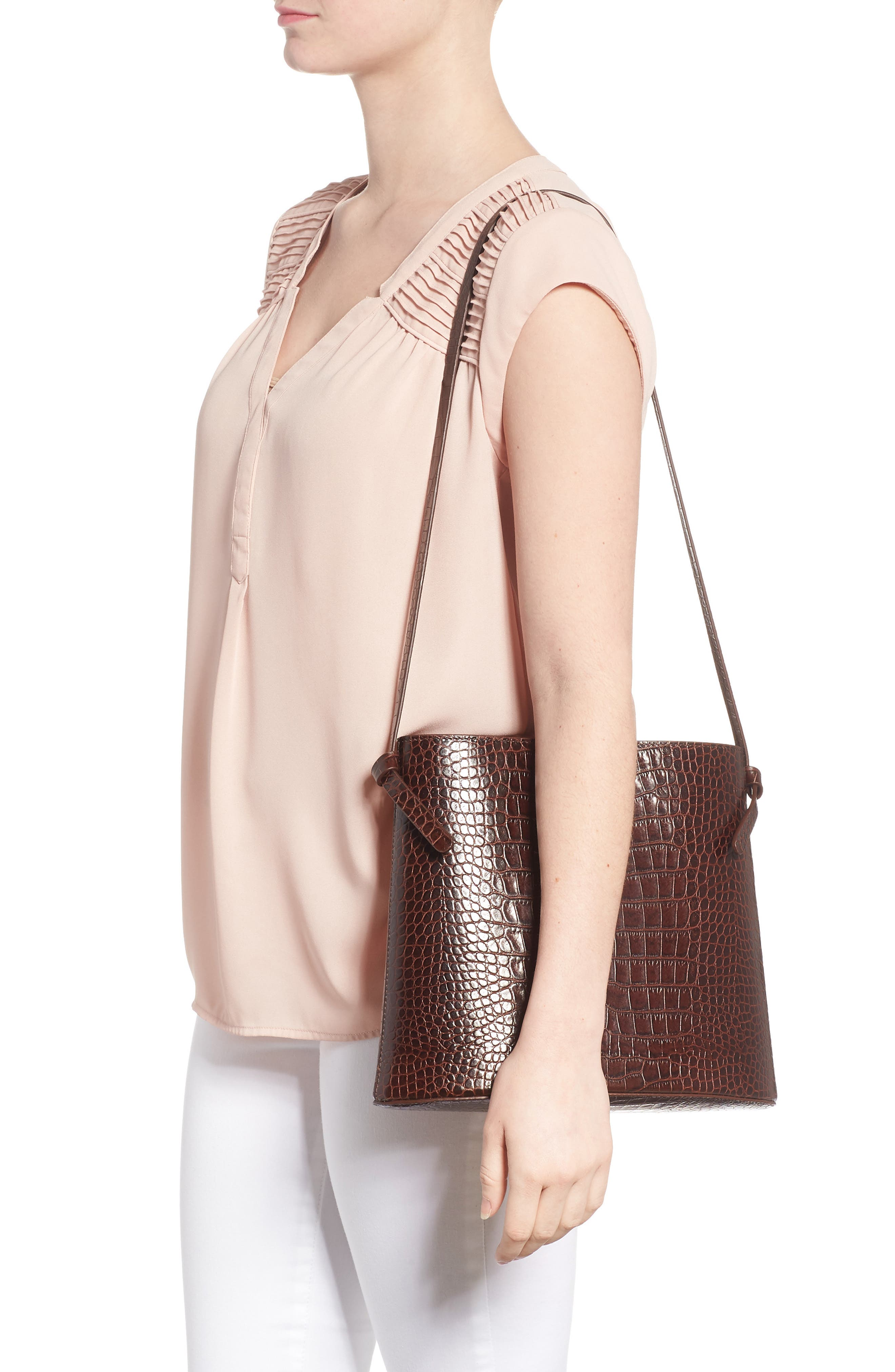 Sybil Croc Embossed Leather Tote,                             Alternate thumbnail 2, color,                             CHOCOLATE BROWN
