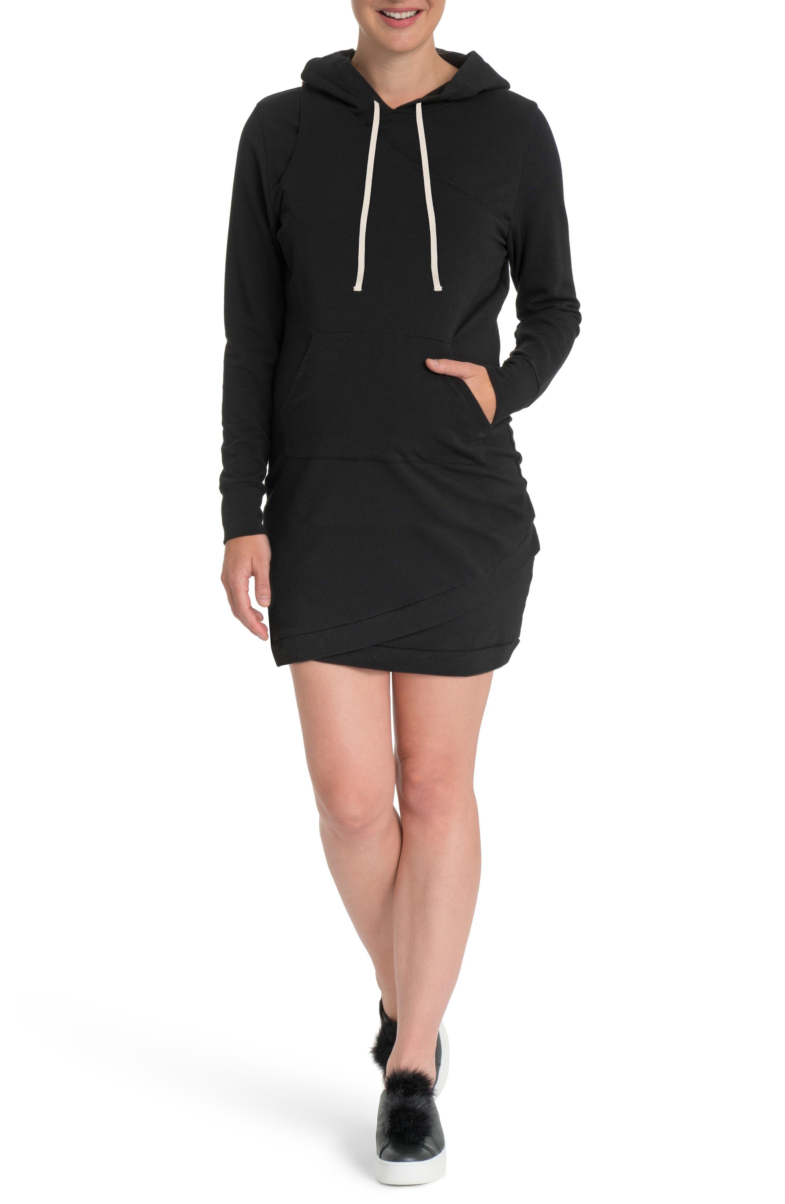 Cozy Maternity/Nursing Hooded Dress,                             Main thumbnail 1, color,                             002
