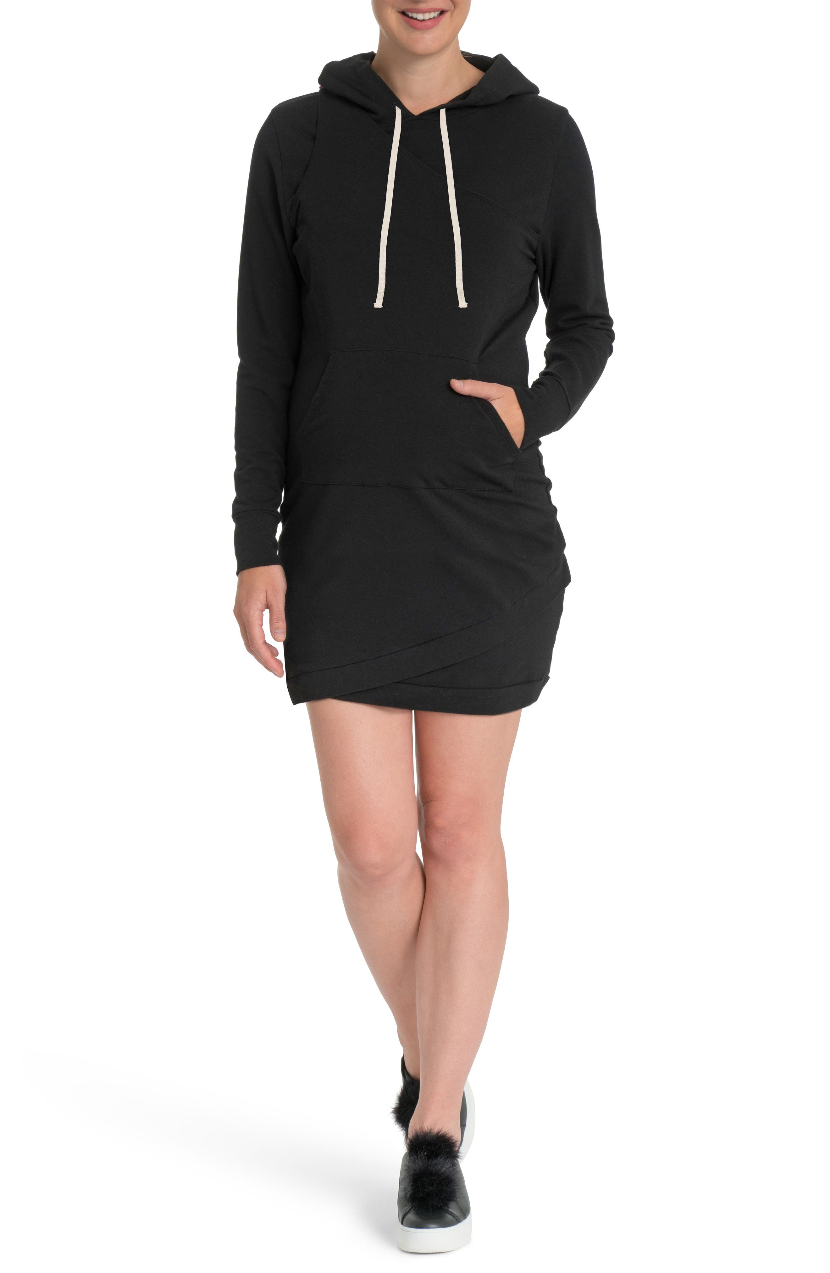 Cozy Maternity/Nursing Hooded Dress,                         Main,                         color, BLACK
