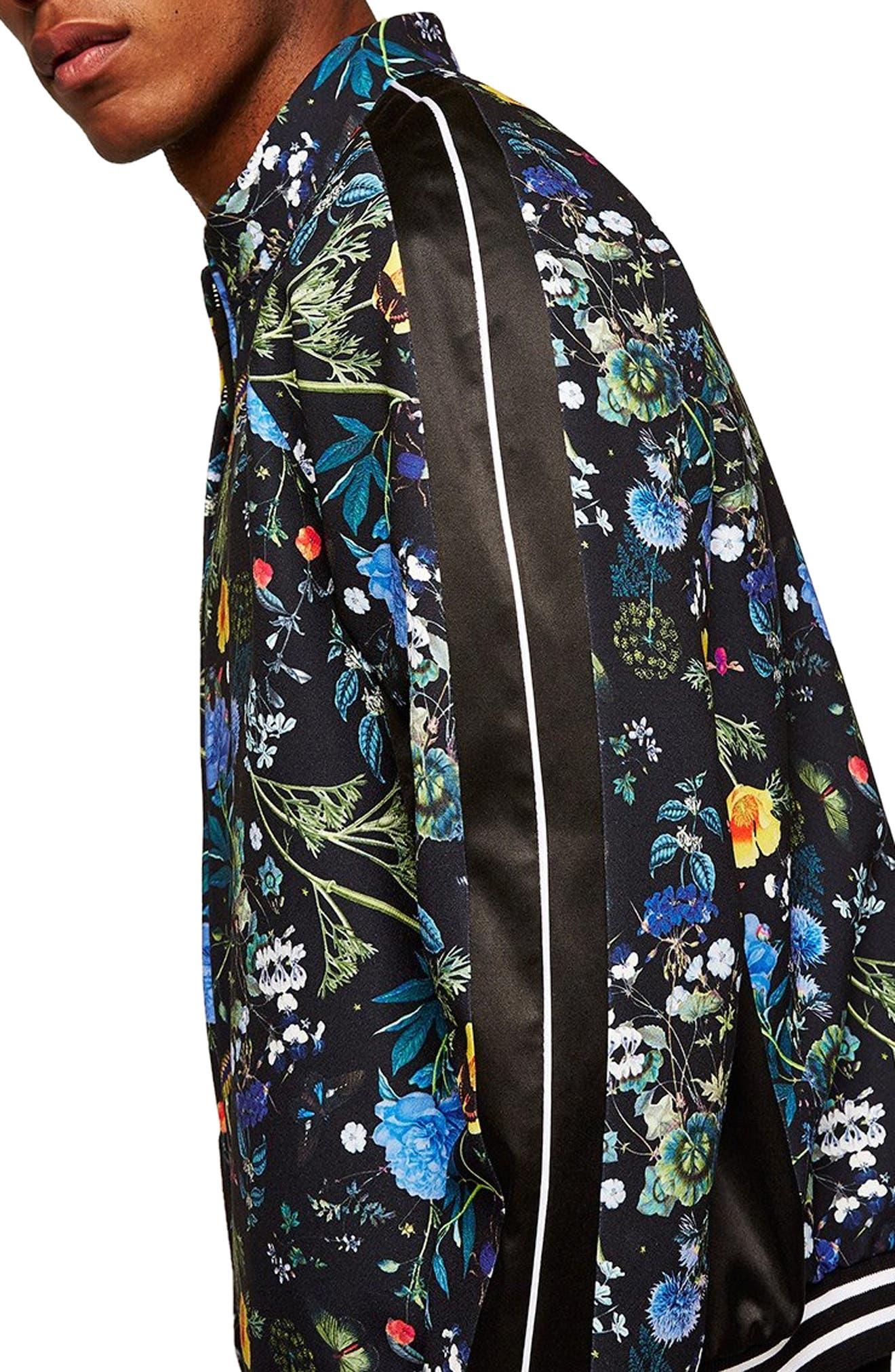 Floral Track Jacket,                             Alternate thumbnail 3, color,                             BLACK MULTI