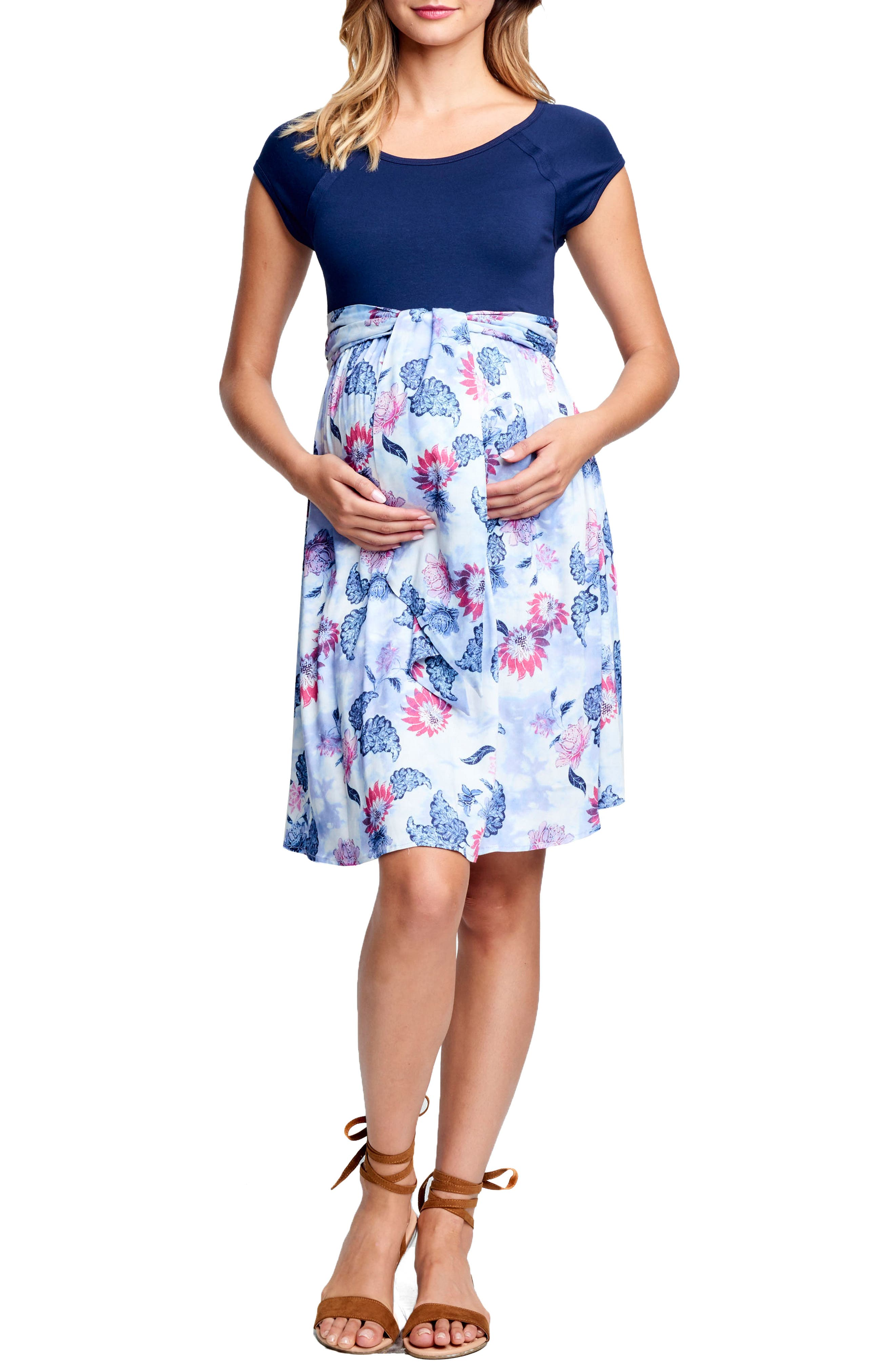 Tie Front Maternity Dress,                             Main thumbnail 1, color,                             400