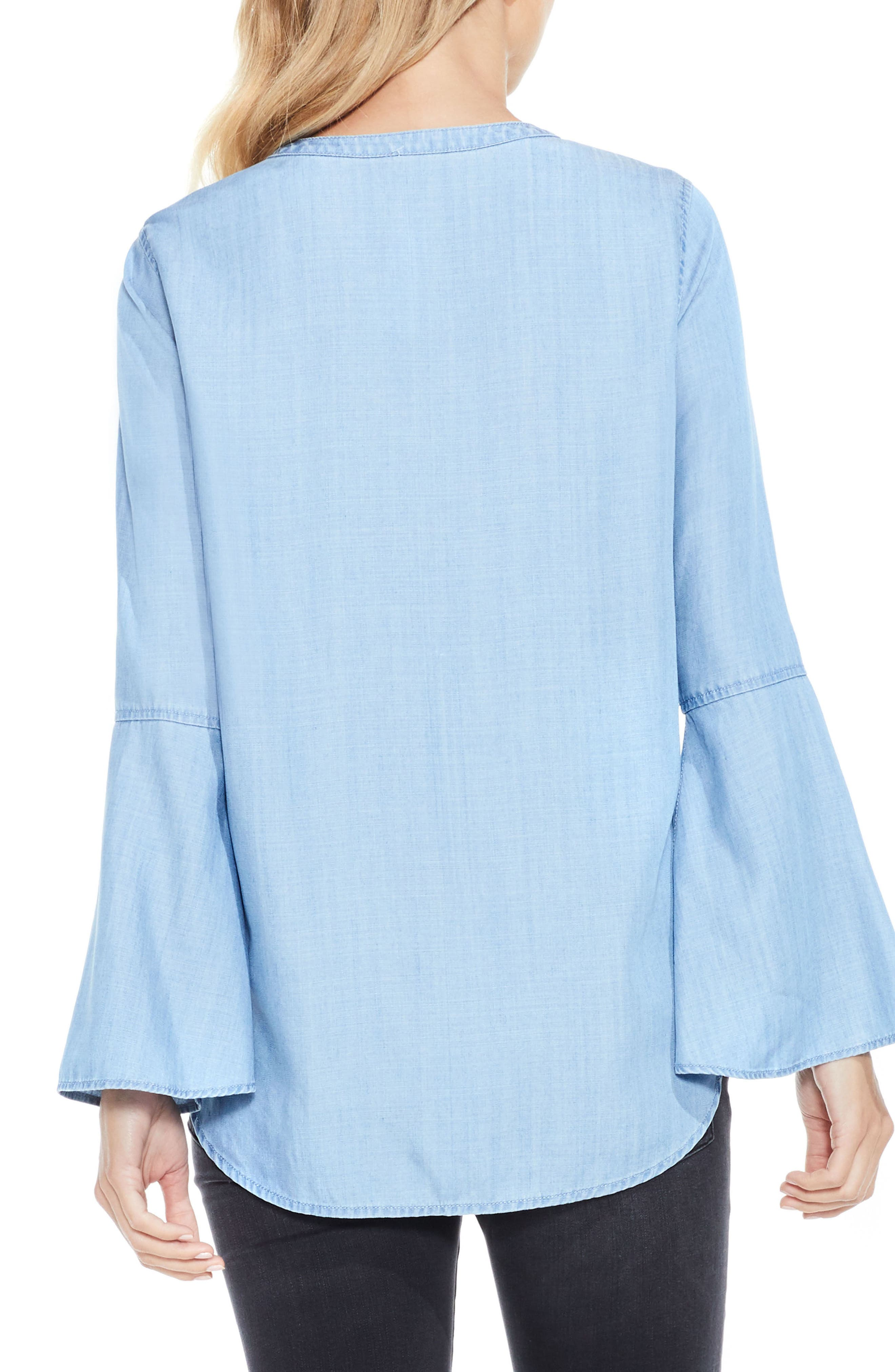 Bell Sleeve Chambray Blouse,                             Alternate thumbnail 2, color,                             410