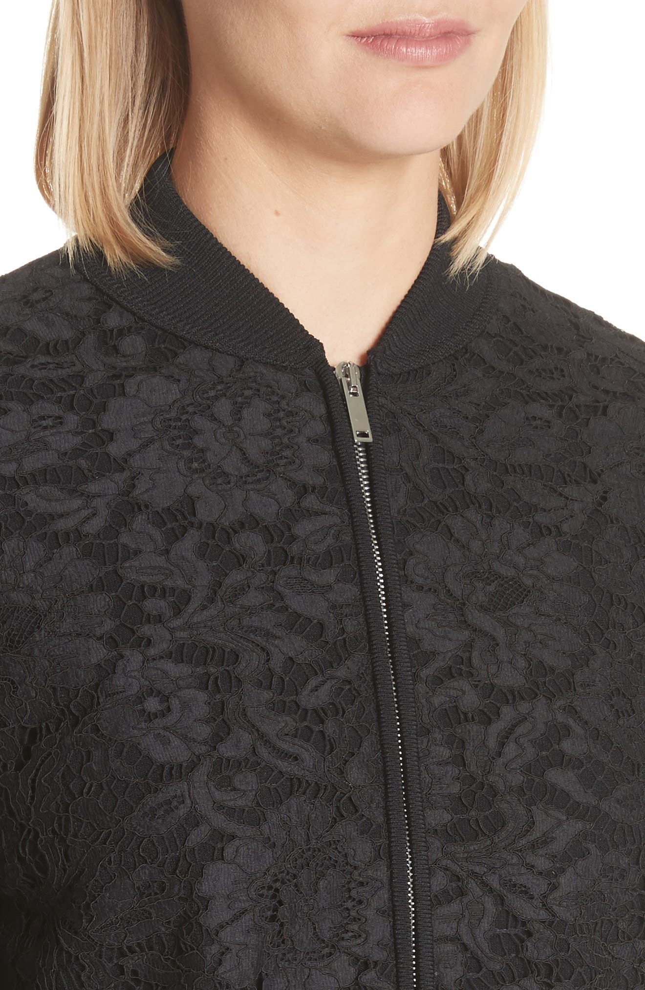 Lace Front Bomber Jacket,                             Alternate thumbnail 4, color,                             001