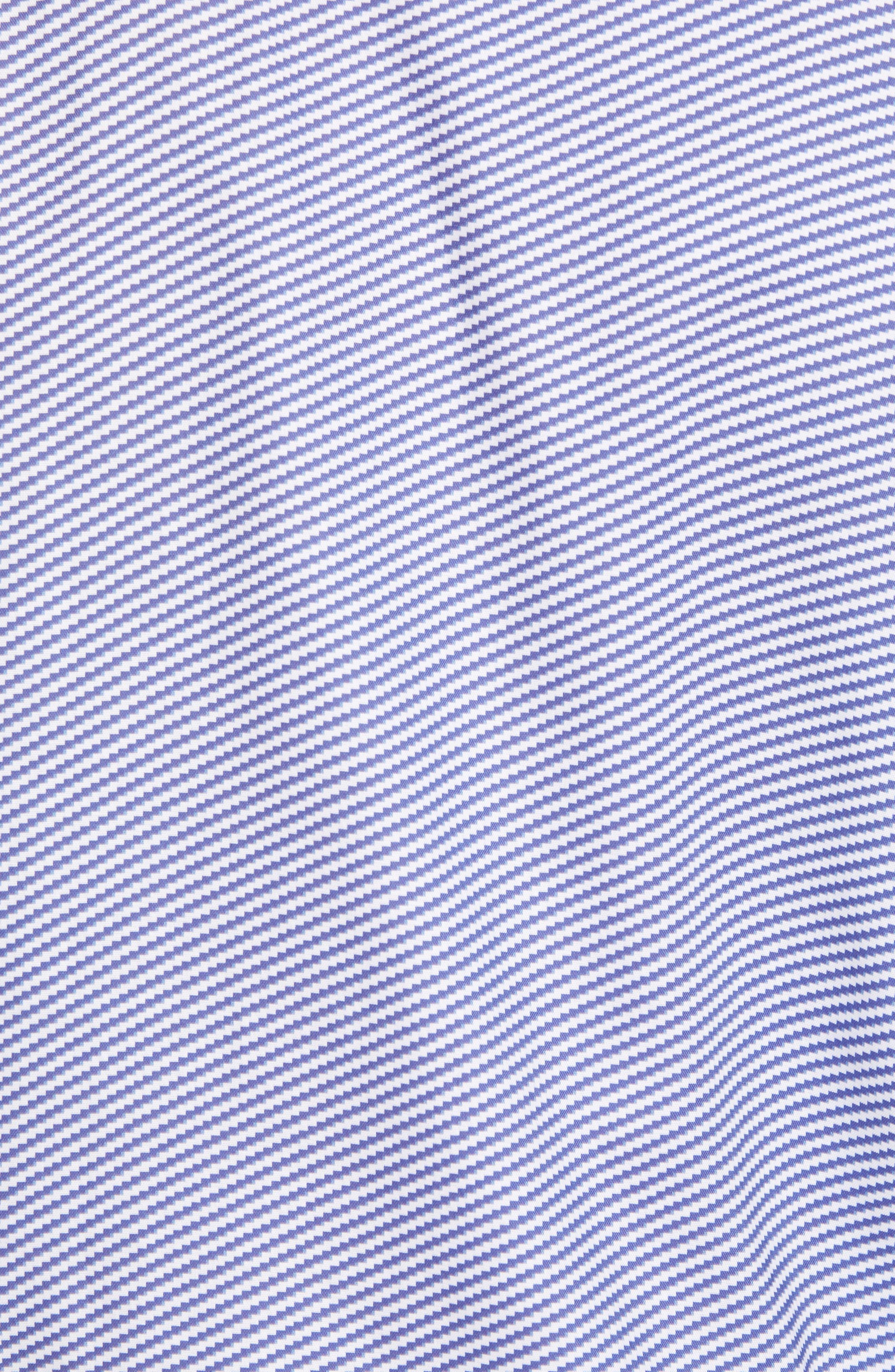 Shaped Fit Optic Print Sport Shirt,                             Alternate thumbnail 5, color,                             NAVY