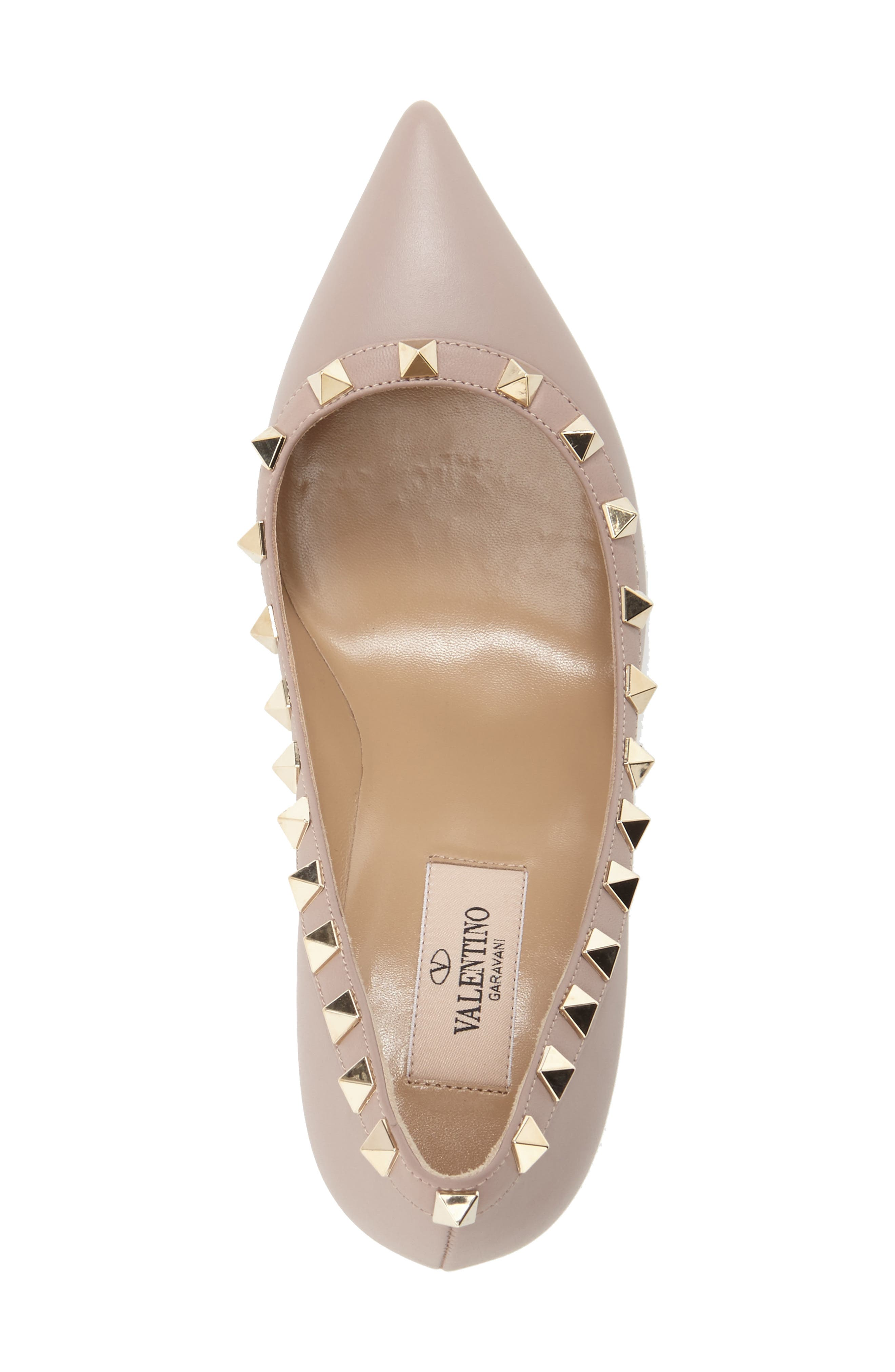 Rockstud Pointy Toe Pump,                             Alternate thumbnail 4, color,                             POUDRE LEATHER