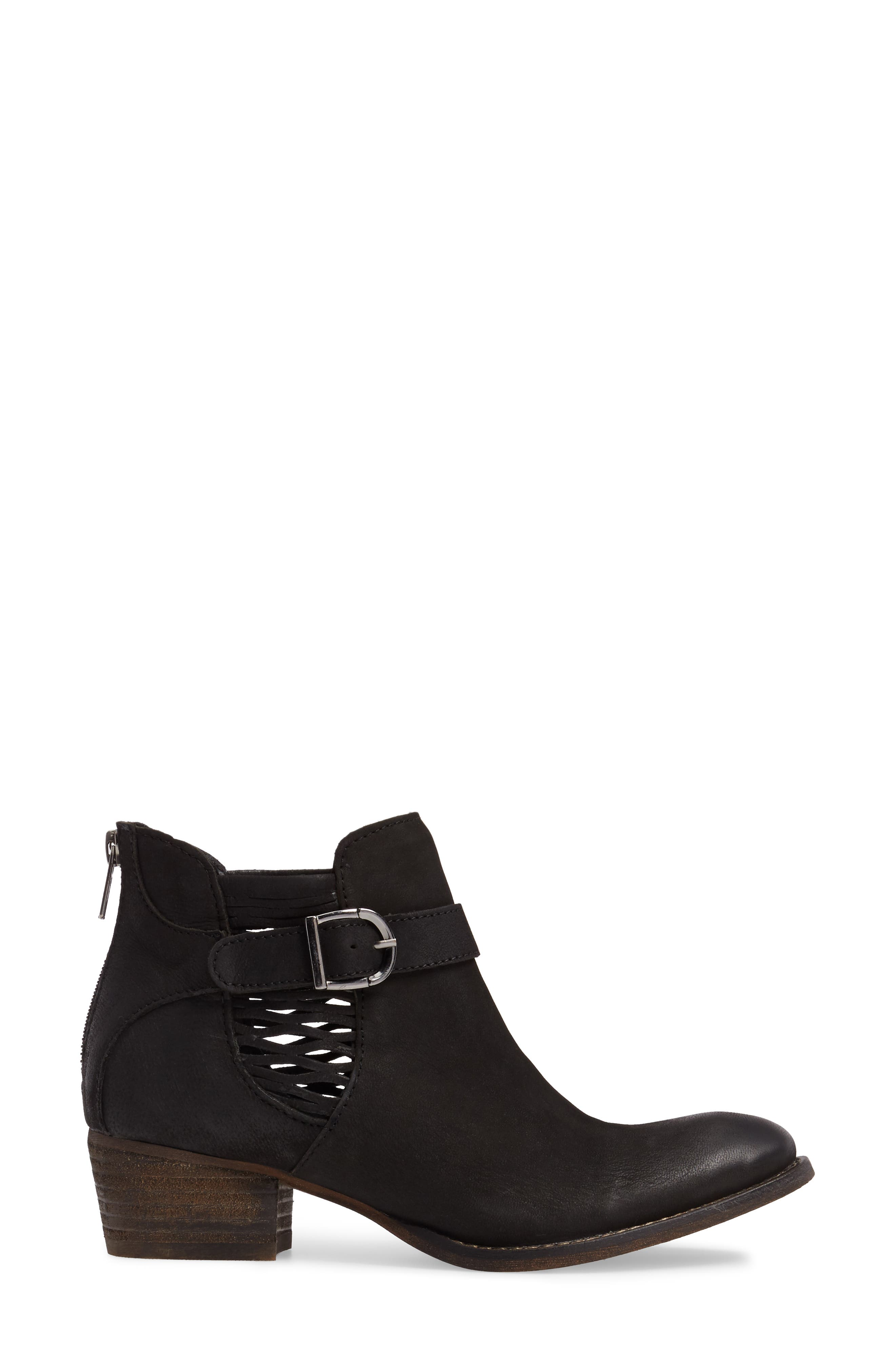 Yara Perforated Chelsea Bootie,                             Alternate thumbnail 3, color,                             001