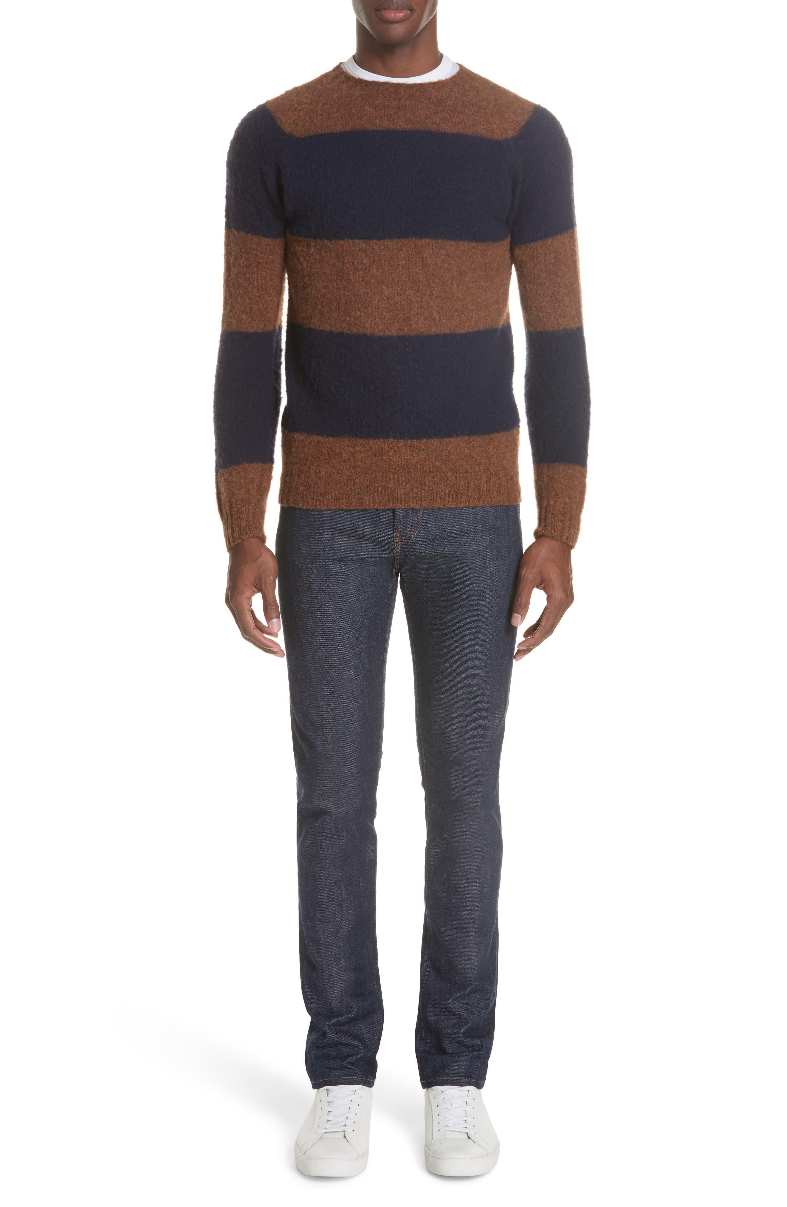 Officine Générale Stripe Wool Crew Sweater,                             Alternate thumbnail 7, color,                             411