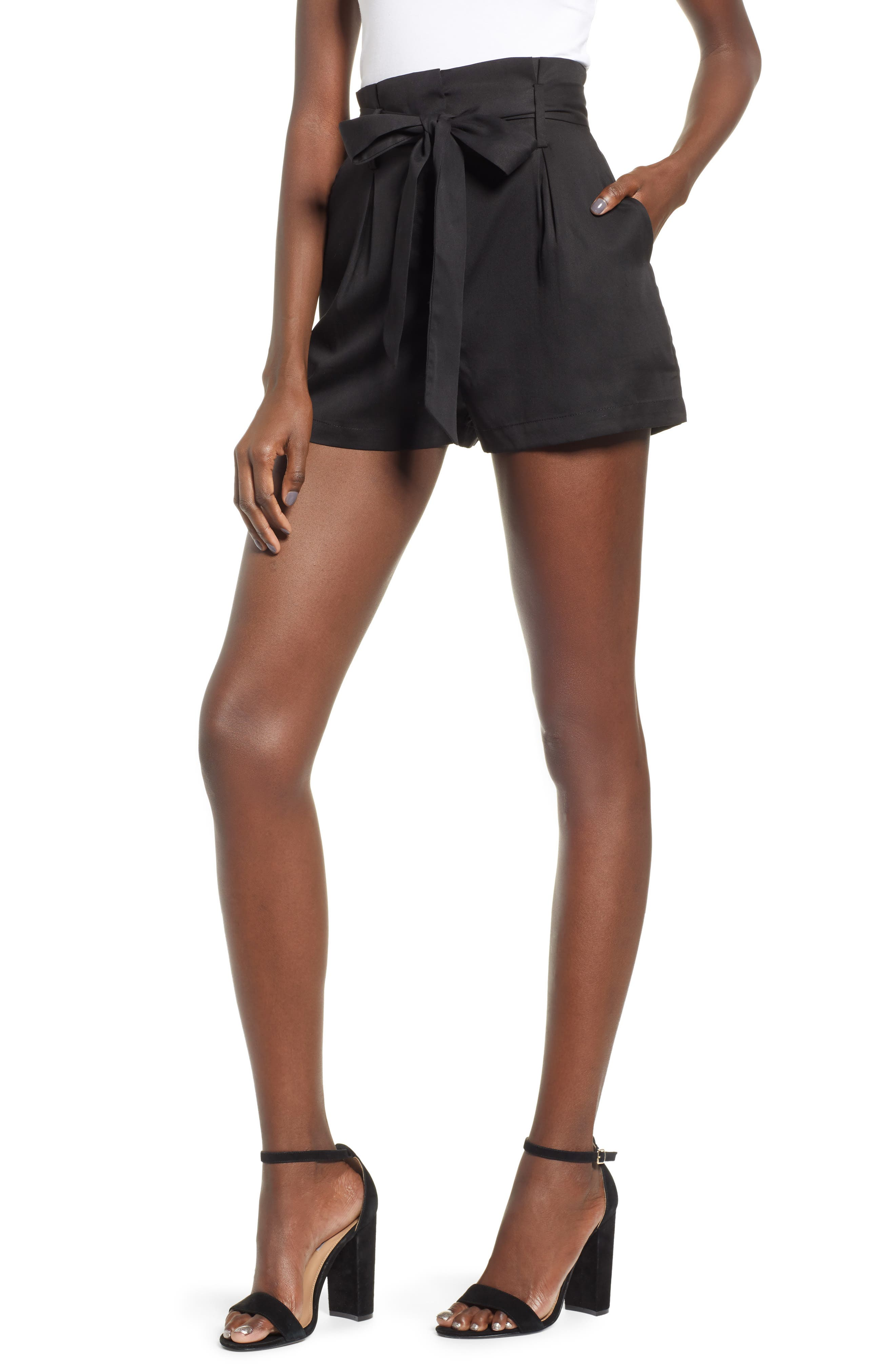 Tie Front Shorts,                             Main thumbnail 1, color,                             BLACK