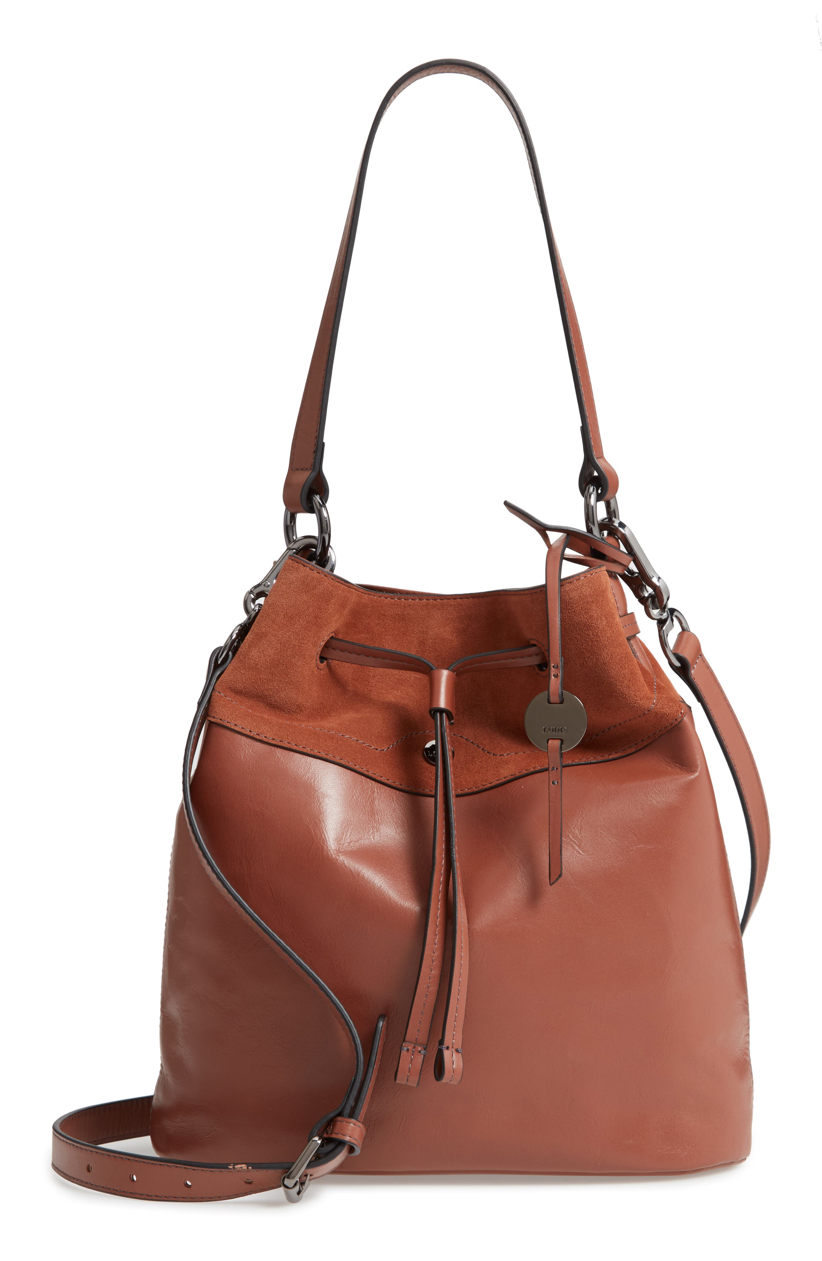 Jess Medium Drawstring Bucket Bag,                         Main,                         color, SADDLE