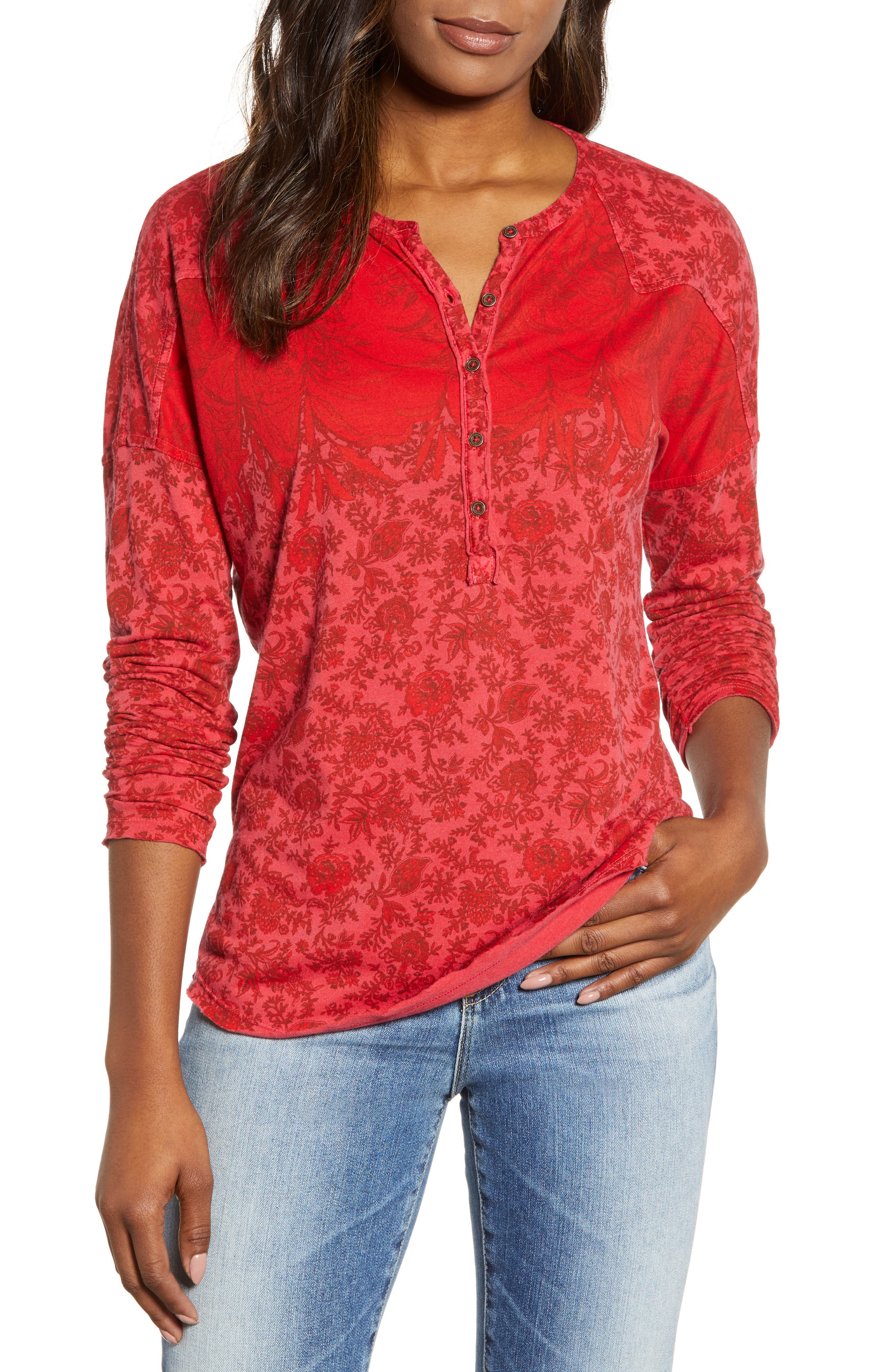 women's lucky brand washed western henley tee